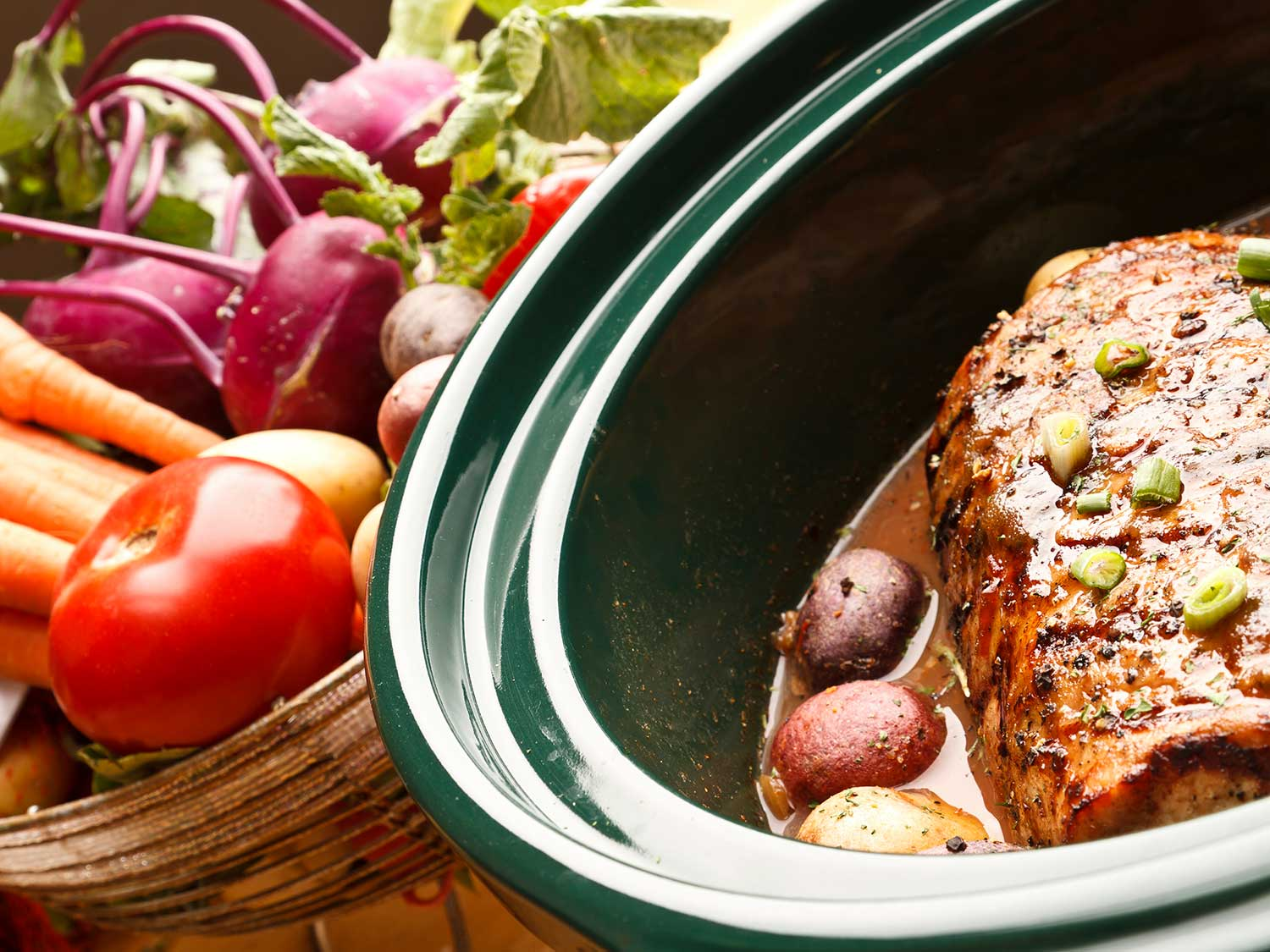 Meal cooking in slow cooker