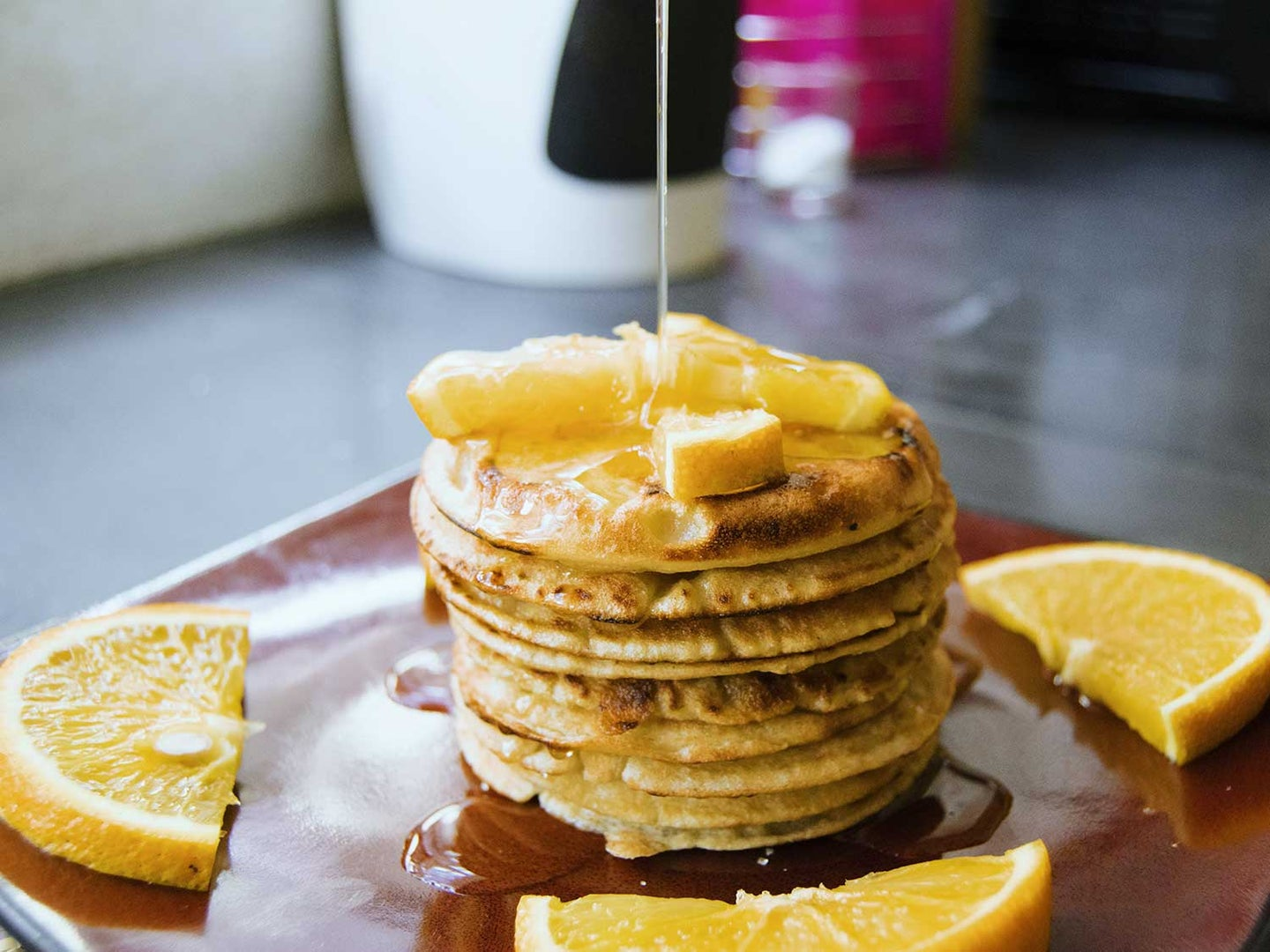 pancakes getting syrup
