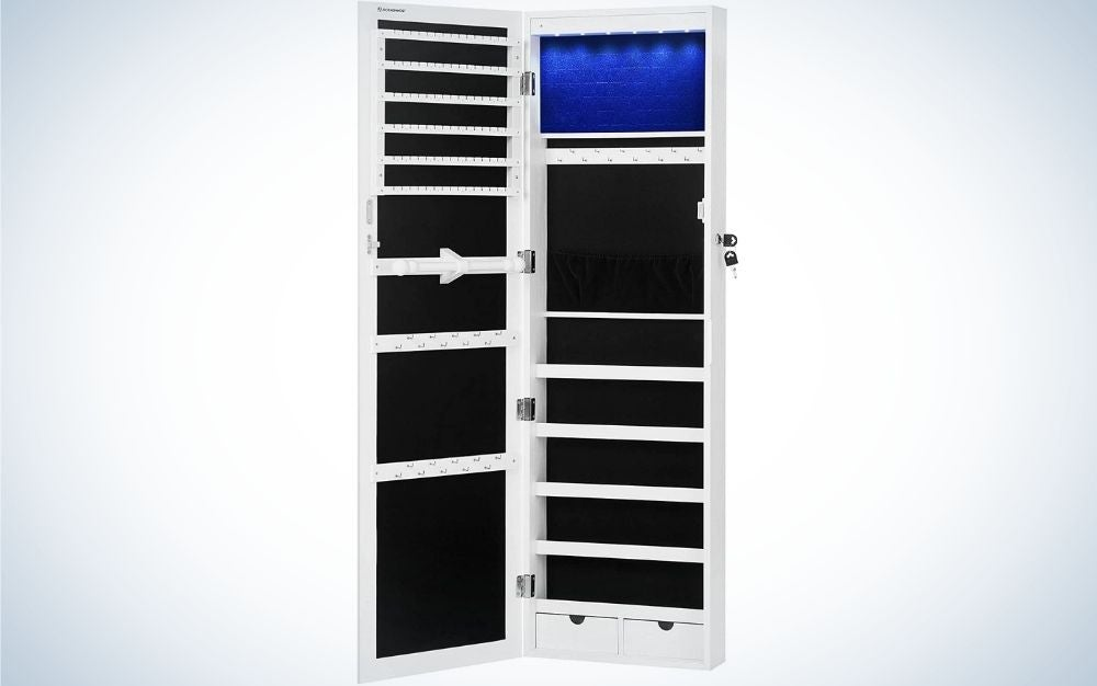 The SONGMICS 6 LEDs Mirror Jewelry Cabinet is best overall.