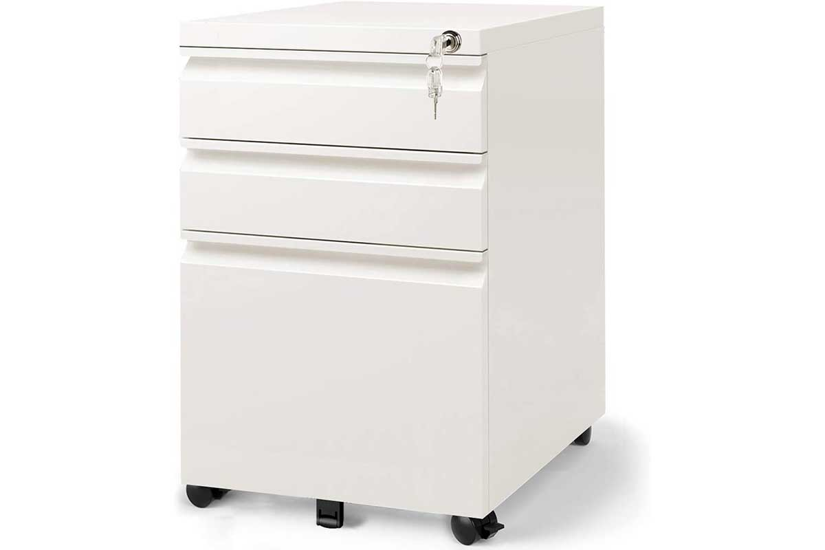 DEVAISE 3 Drawer Mobile File Cabinet with Lock