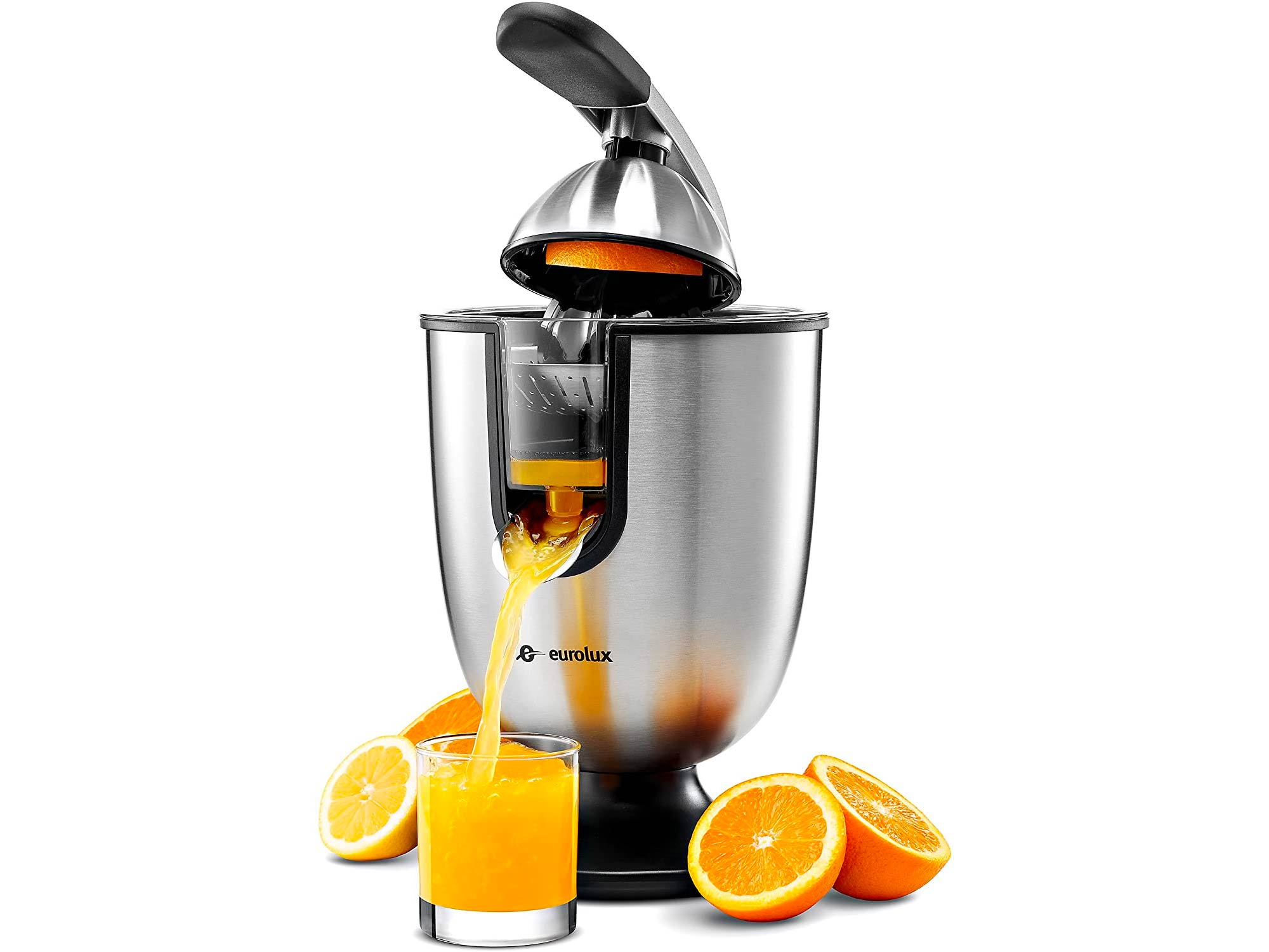 Eurolux Electric Citrus Juicer Squeezer, for Orange, Lemon, Grapefruit, Stainless Steel 160 Watts of Power Soft Grip Handle and Cone Lid for Easy Use