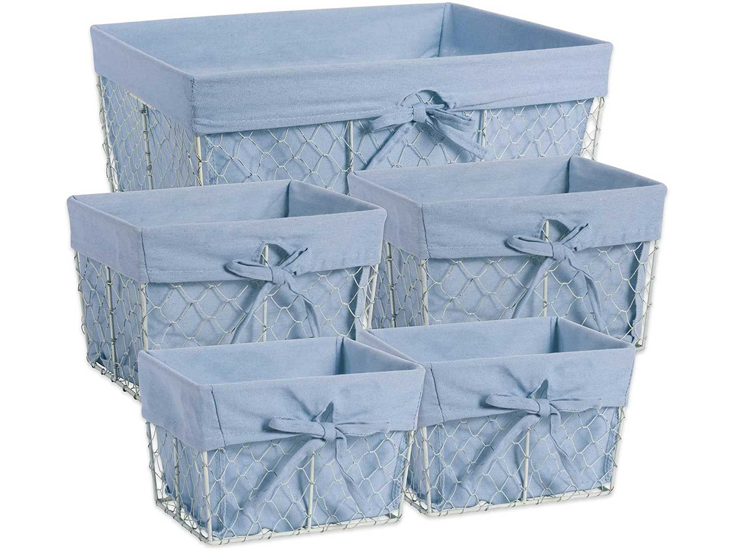 DII Chicken Wire Baskets Antique White for Storage Removable Fabric Liner, Assorted Set of 5, Washed Denim 5 Piece