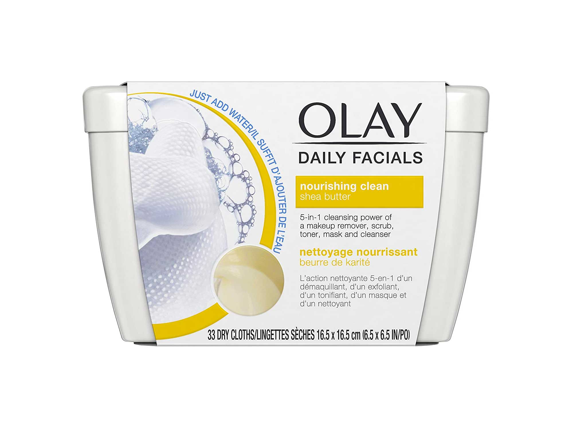 Olay Daily Facial Nourishing Cleansing Cloths Tub with Shea Butter Makeup Remover, 33 ct