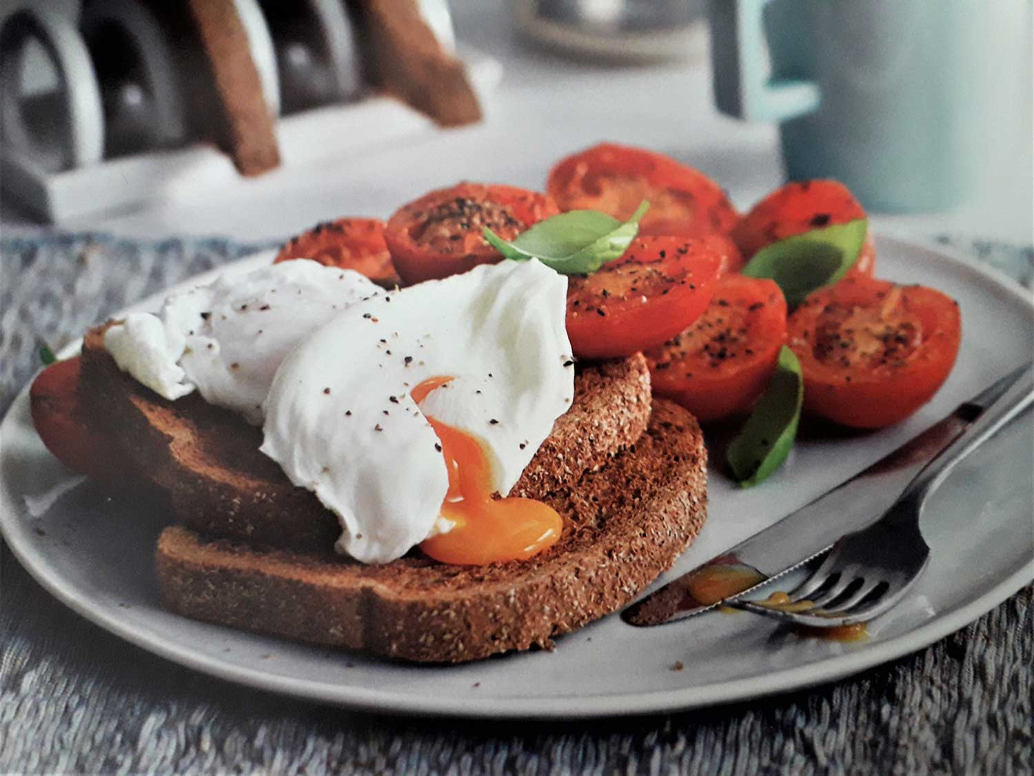 Poached egg on toast.