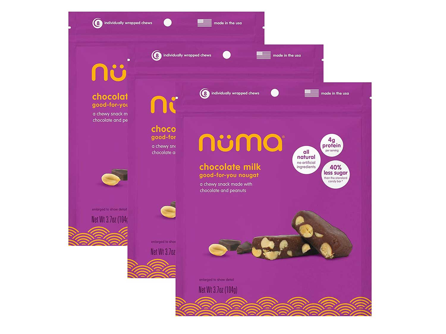 Healthy Chocolate Milk Peanut Candy - Low Calorie, Low Sugar, All Natural Soft Chewy Snack, High Protein, Gluten Free - 3 Bags with 24 Individually Wrapped Chews Total