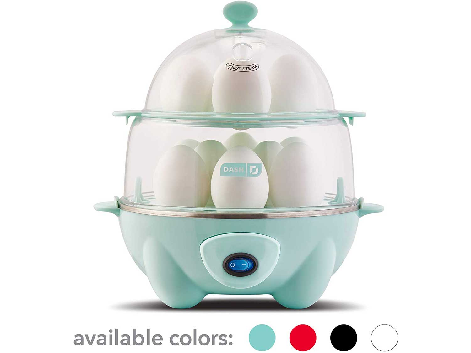 Dash DEC012AQ Deluxe Rapid Egg Cooker: Electric, 12 Capacity for Hard Boiled, Poached, Scrambled, Omelets, Steamed Vegetables, Seafood, Dumplings