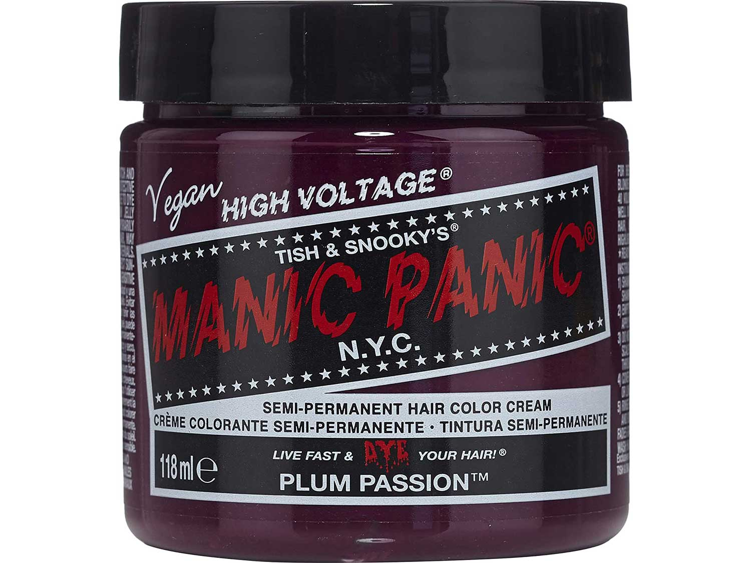 Manic Panic Plum Passion Hair Dye - Classic High Voltage - Semi Permanent Hair Color - Purple Shade With Red Undertones - For Dark & Light Hair – Vegan, PPD & Ammonia-Free - For Coloring Hair