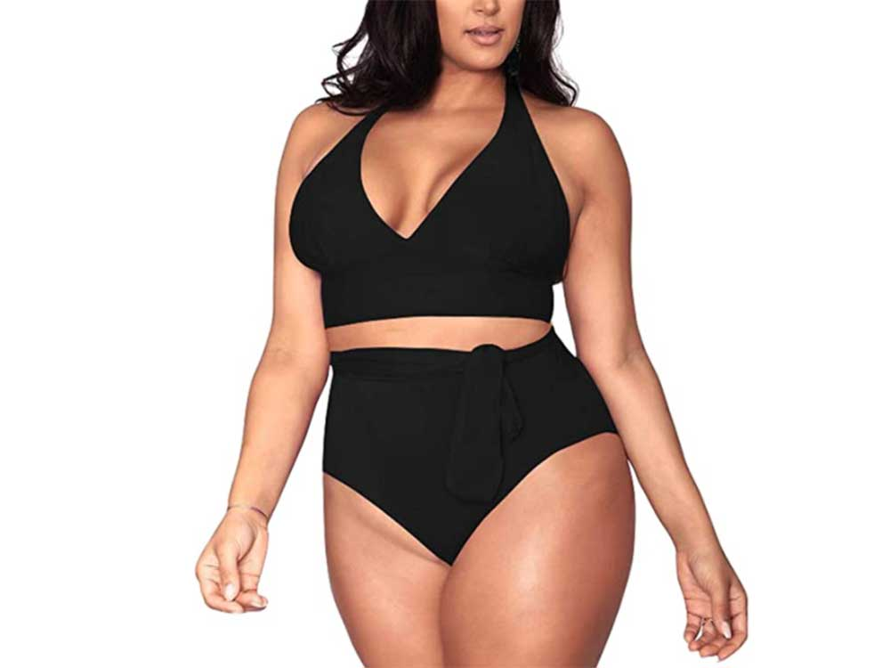 Sovoyontee Women's Plus Size High Waisted Tummy Control Swimwear Swimsuit Full Coverage