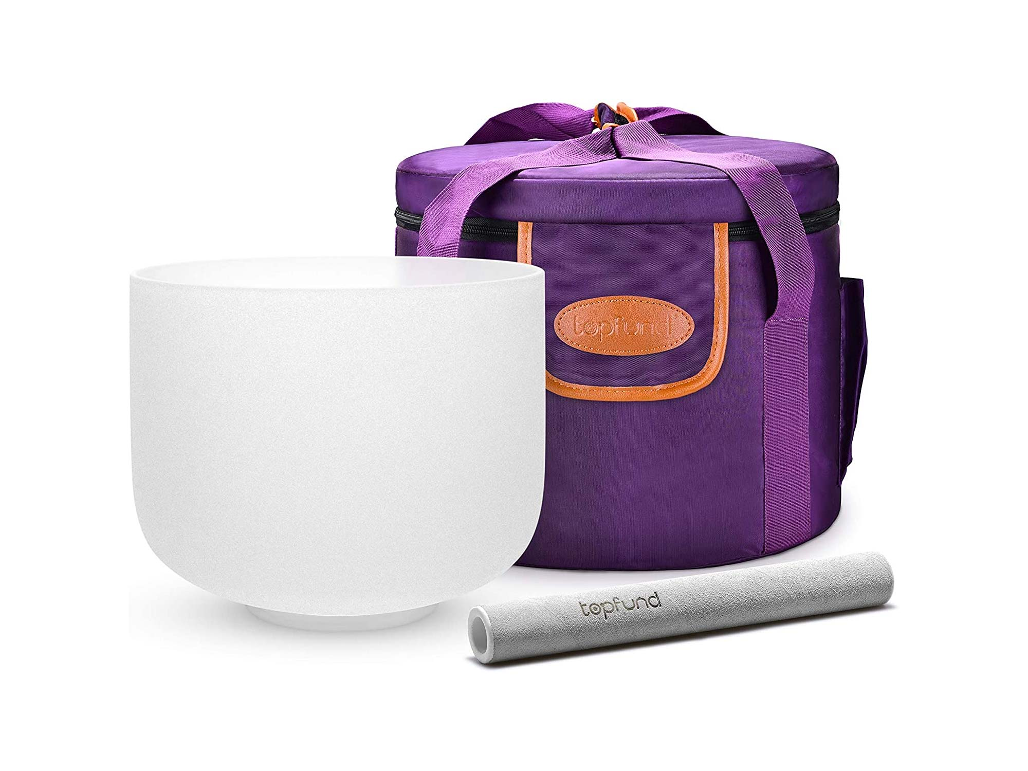 TOPFUND 432 hz F Note Crystal Singing Bowl Heart Chakra 8 inch with Heavy Duty Carrying Case and Suede Striker