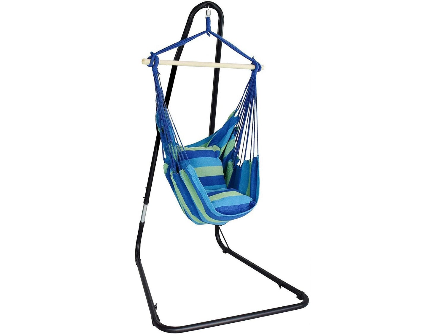 Hanging Rope Hammock Chair Swing with Space Saving Stand for Indoor or Outdoor Patio, Yard, Porch, and Bedroom