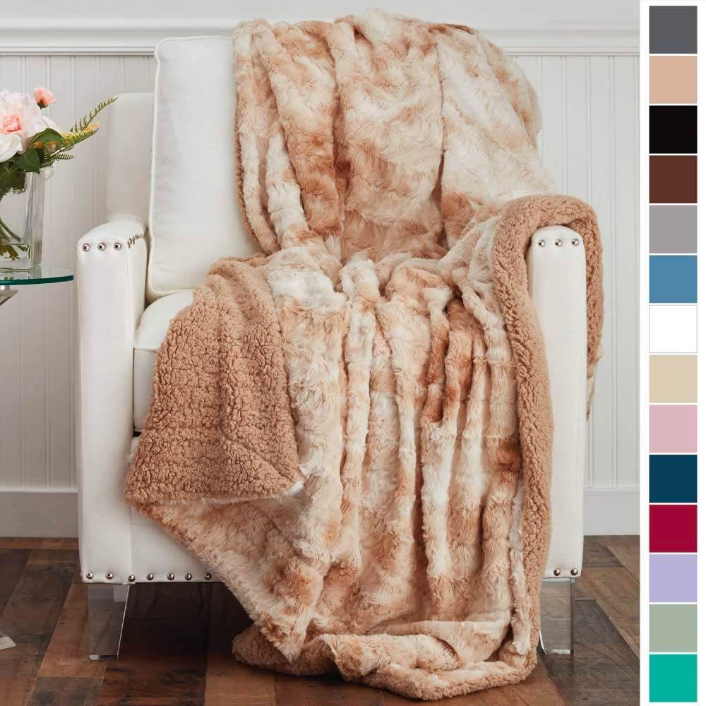 The Connecticut Home Company Luxury Faux Fur with Sherpa Reversible Throw Blanket, Super Soft, Large Wrinkle Resistant Blankets, Warm Hypoallergenic Washable Couch or Bed Throws, 65x50, Beige Tie Dye