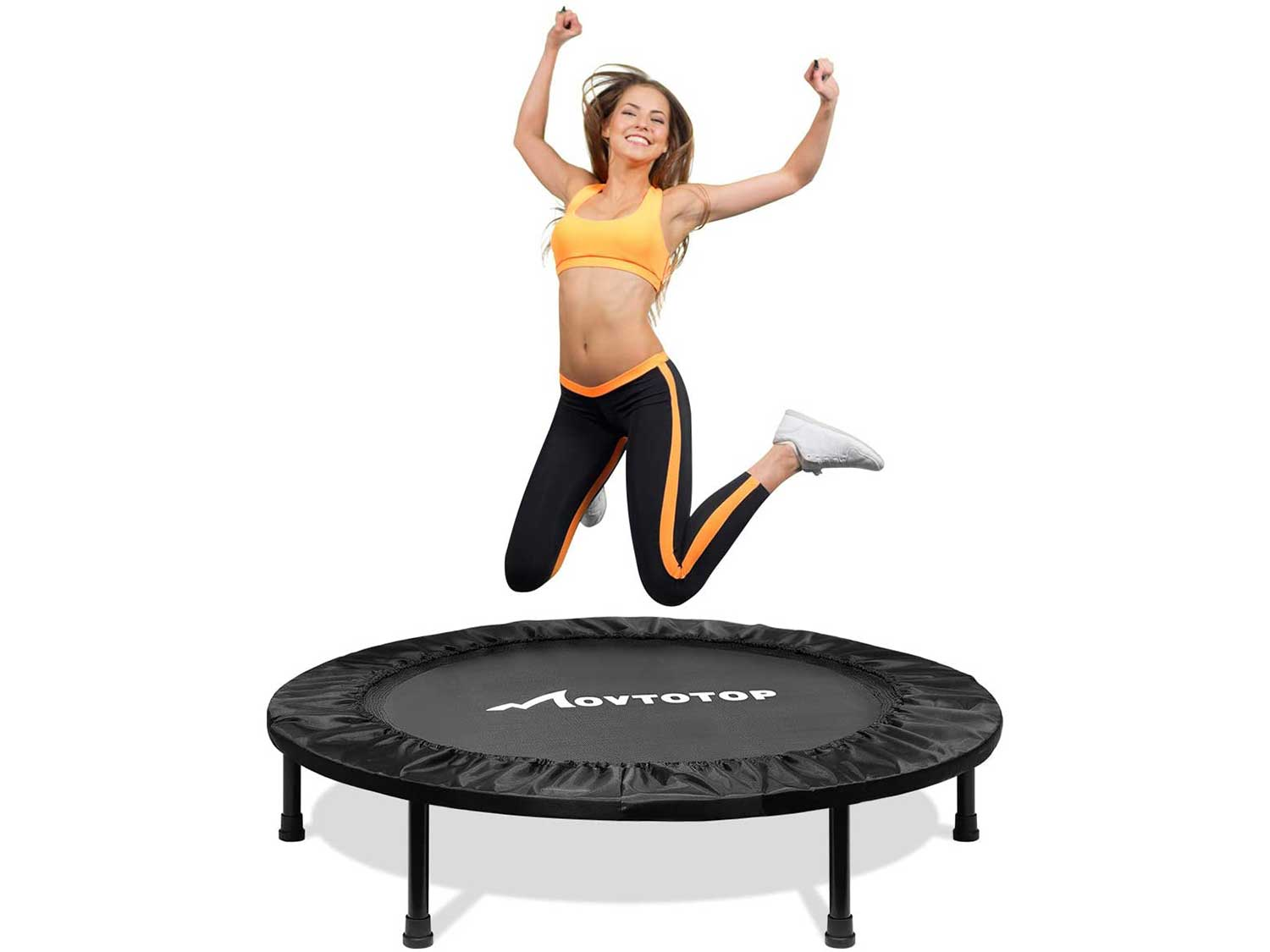 MOVTOTOP Fitness Trampoline, Foldable Mini Trampoline for Adults and Kids with Safety & Anti-Skid Pads Exercise Rebounder Workout Max Load 300lbs, Black