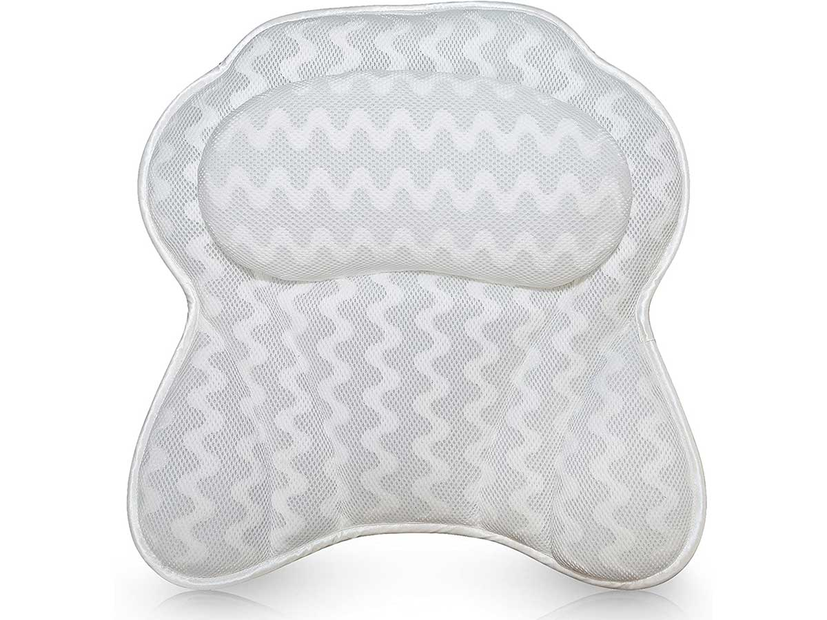 Luxurious Bath Pillow for Women & Men :: Ergonomic Bathtub Cushion for Neck, Head & Shoulders :: with QuiltedAir Mesh for Breathable Comfort