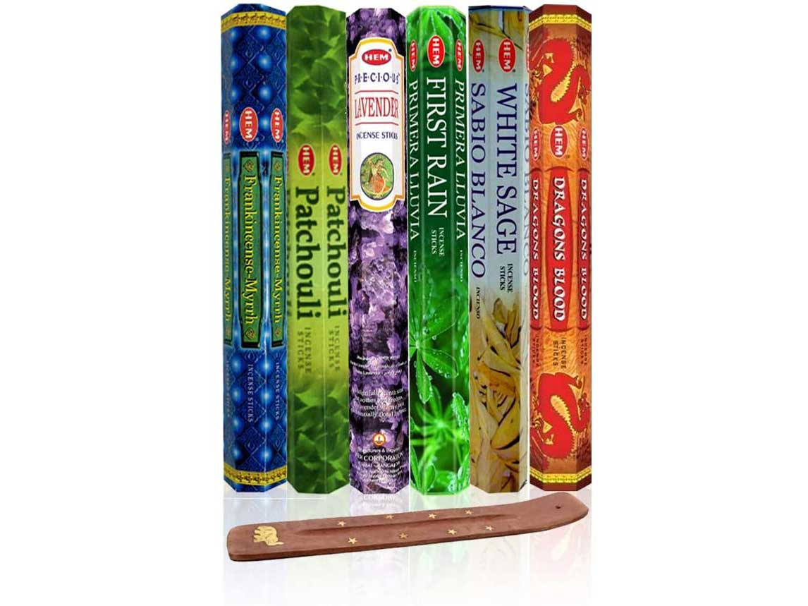 Six Most Popular Hem Incense Scents of All Time, 120 Sticks Total, with Free Burner - 20 Sticks Each of Dragon's Blood, Frankincense & Myrrh, Patchouli, Precious Lavender, First Rain, and White Sage