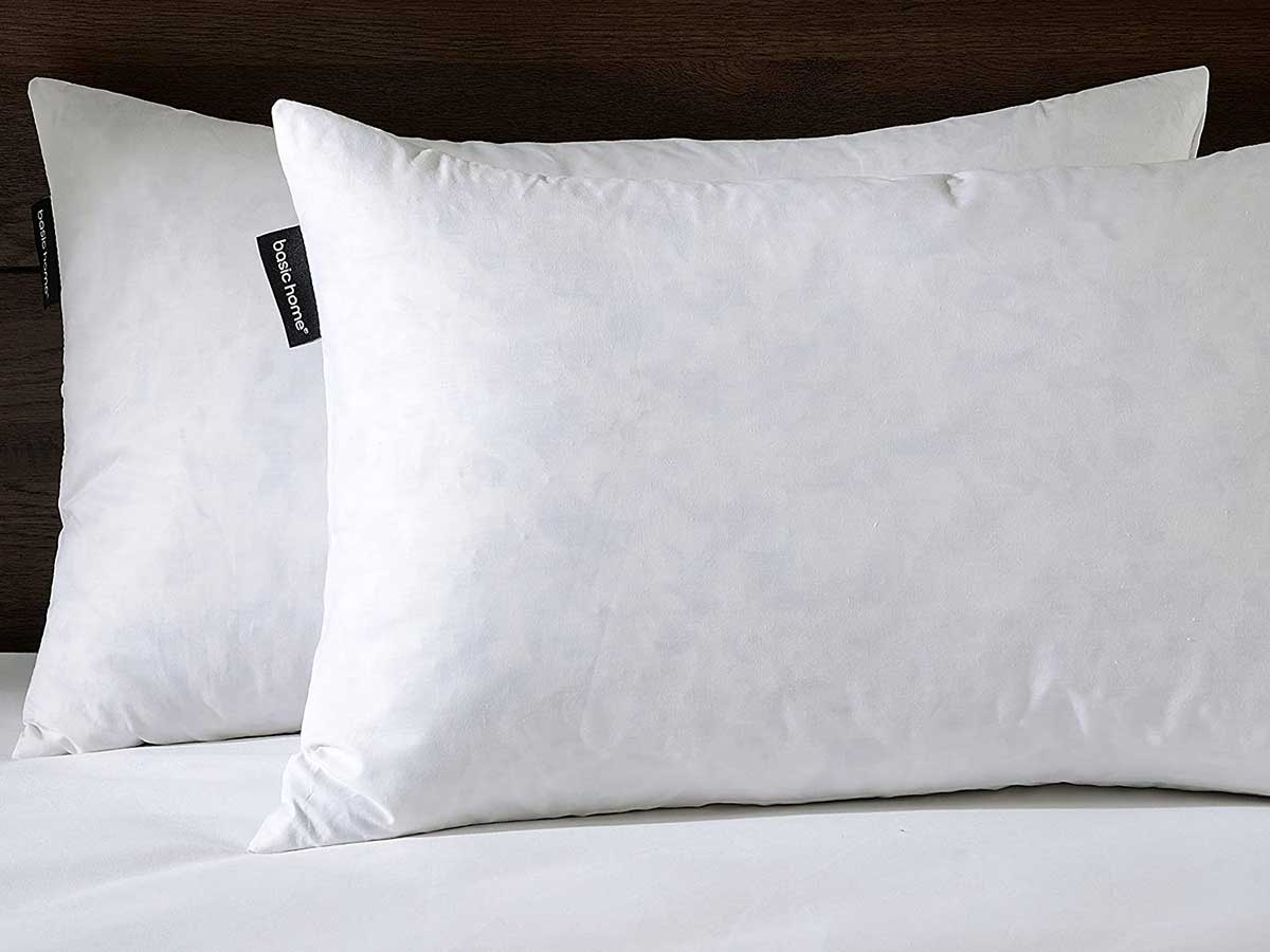 Basic home14x24 Decorative Throw Pillow Inserts-Down Feather Pillow Inserts-Oblong-Cotton Fabric-Set of 2-White. …
