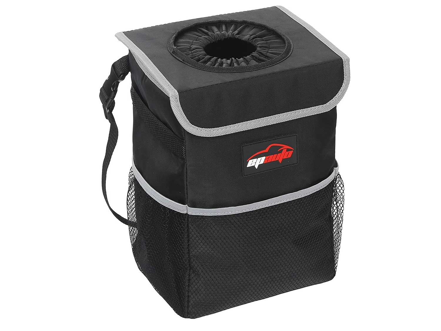 EPAuto Waterproof Car Trash Can with Lid and Storage Pockets, Black