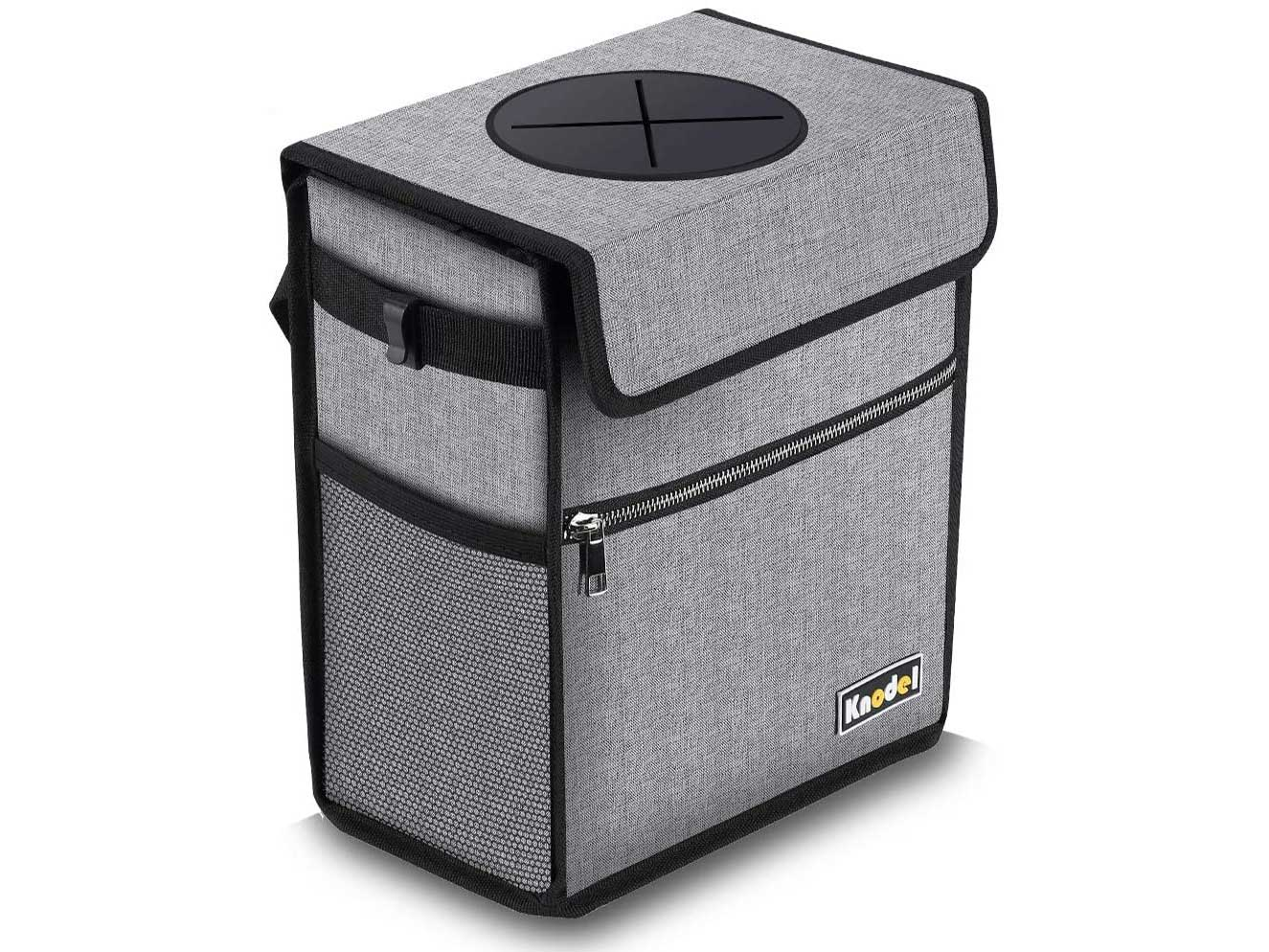 Knodel Car Trash Can with Lid, Leak-Proof Car Garbage Can with Storage Pockets, Waterproof Auto Garbage Bag Hanging for Headrest (Large, Gray)