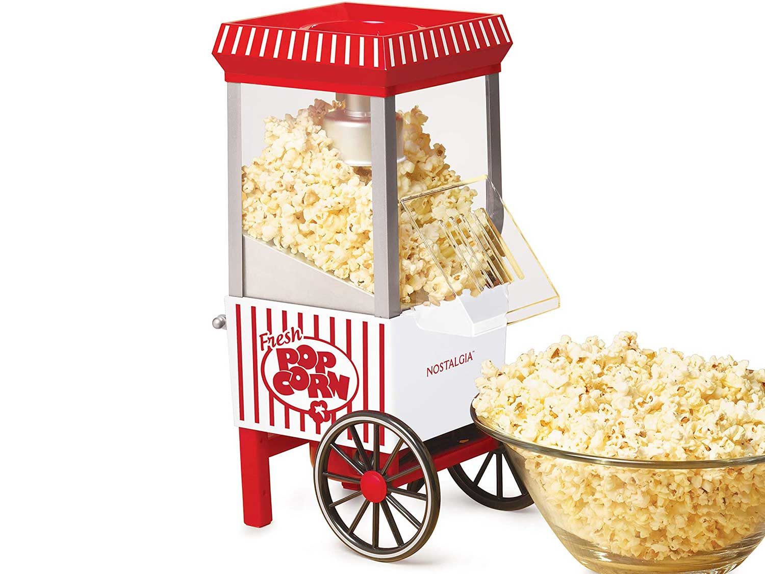Nostalgia OFP521 Vintage Healthy Hot-Air Tabletop Popcorn Maker, Makes 12 Cups, with Kernel Measuring Scoop, Oil Free, Perfect for Birthday Parties, Movie Nights – Candy Stripe, White/Red