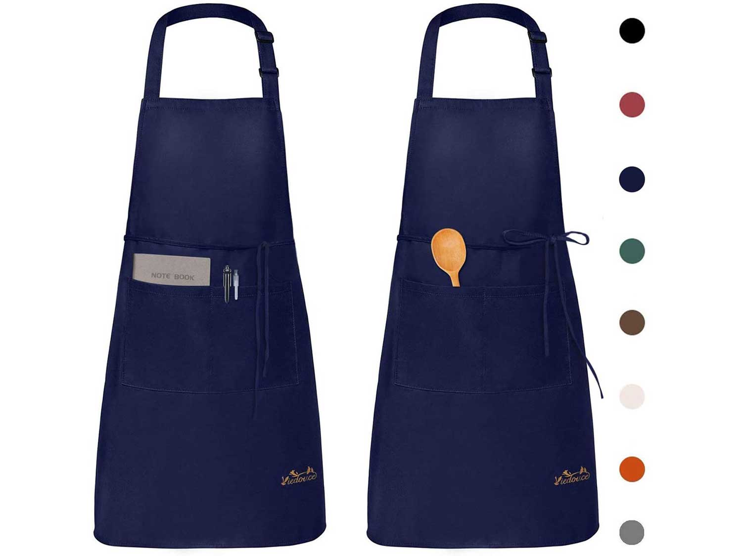 Viedouce Womens Mens Aprons with Pockets Durable Restaurant Aprons for Chefs Pocket Apron 2 Pack, Navy