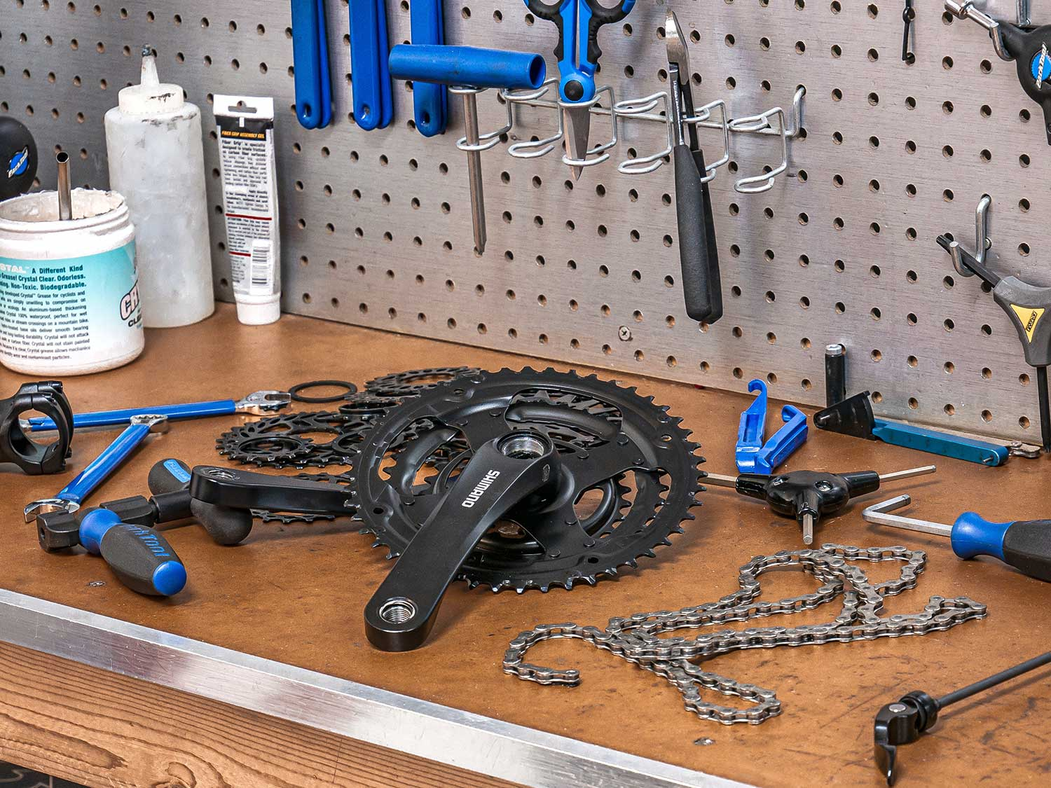 Pegboard storing tools.