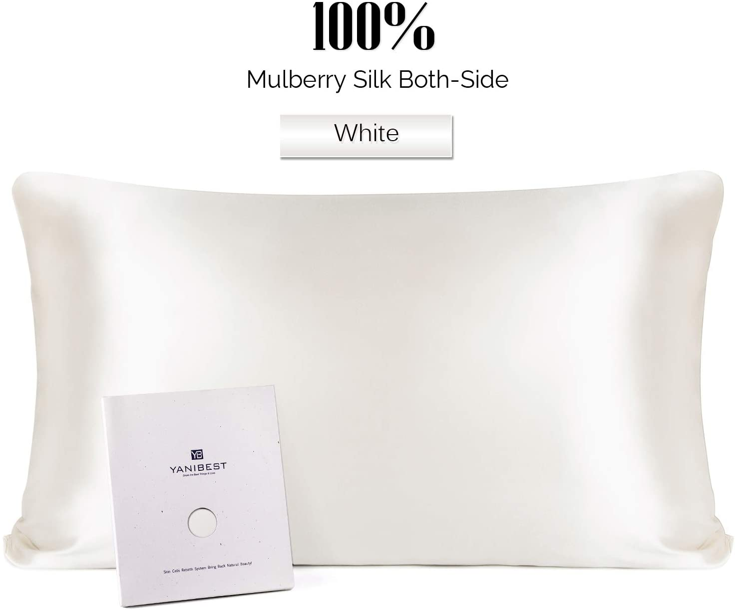 YANIBEST Silk Pillowcase for Hair and Skin - 21 Momme 600 Thread Count 100% Mulberry Silk Bed Pillowcase with Hidden Zipper, 1 Pack Standard Size Pillow Case White