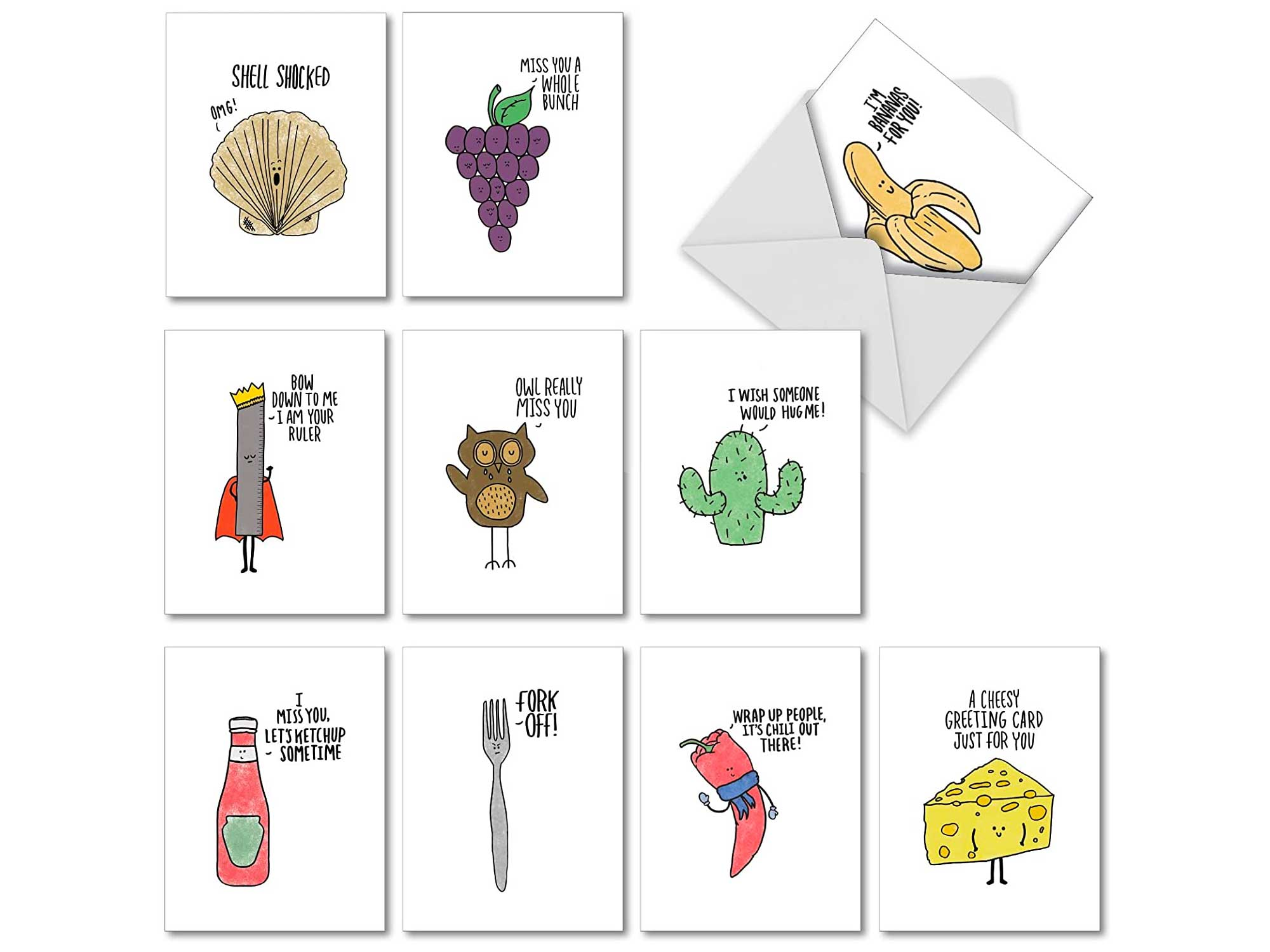 Fun Puns Blank Note Cards (Box of 10) Funny All Occasion Greeting Card with Envelope Cartoon Animated Stationery for Clever Birthday, Business, and Well Wishes Pun Notecards