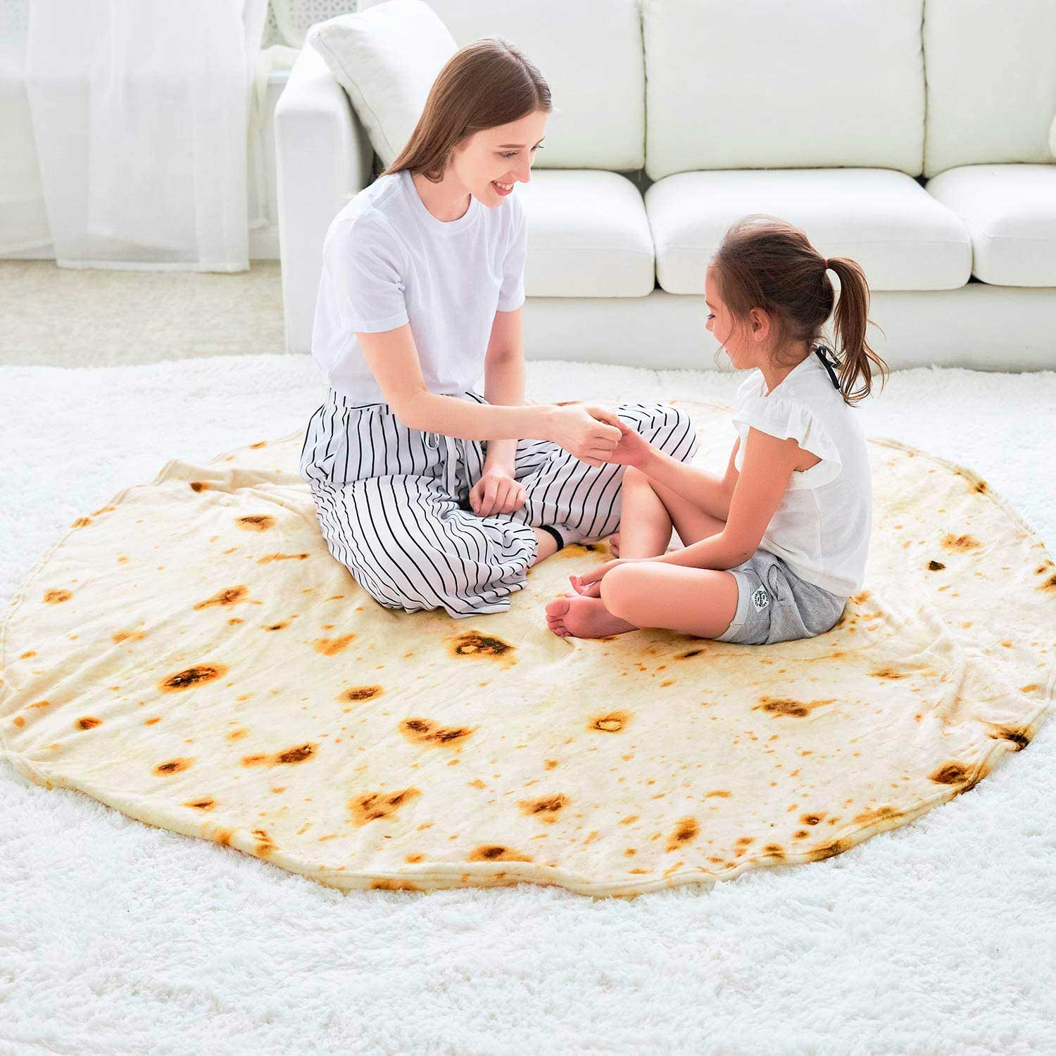 CASOFU Burritos Blanket, Giant Flour Tortilla Throw Blanket, Novelty Tortilla Blanket for Your Family, 285 GSM Soft and Comfortable Flannel Taco Blanket for Kids