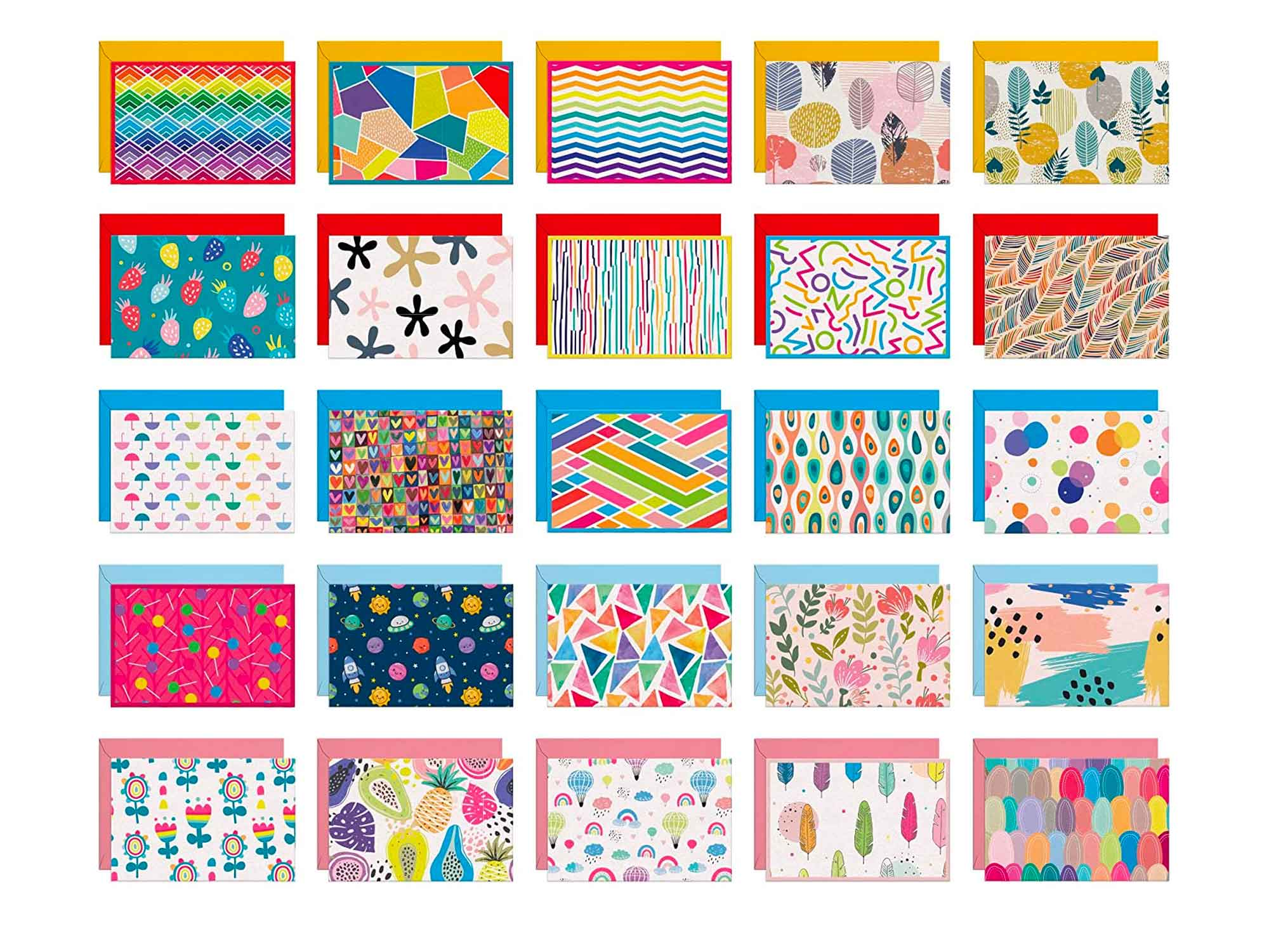 Dessie 50 Blank Cards With Envelopes - Set of 50 Different 4x6 Inch Blank Greeting Cards w/Colored Envelopes & Gold Seals. Colorful Designs - No Repetition. All Occasion Note Cards with Envelopes Set