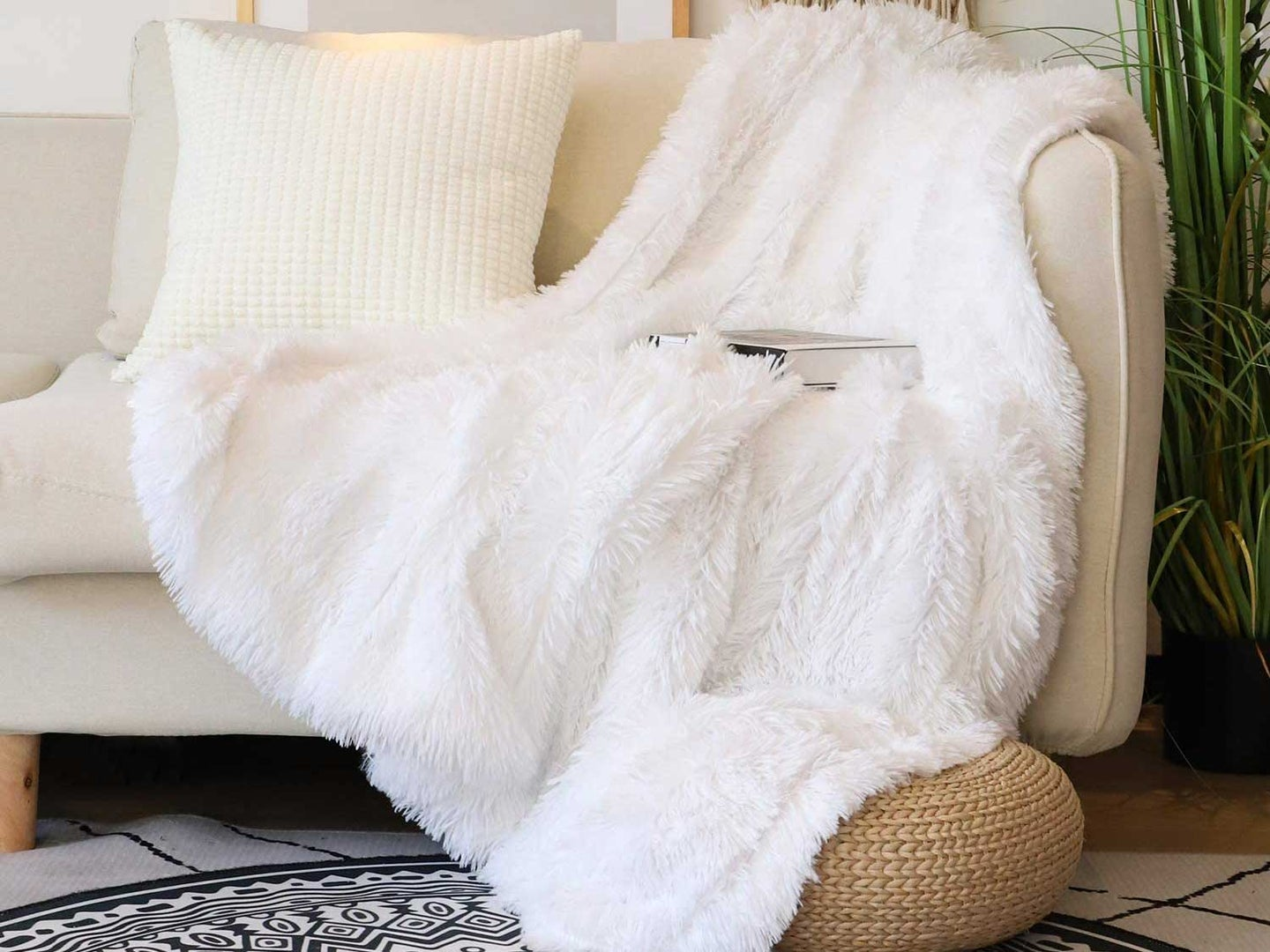 Soft throw on couch.
