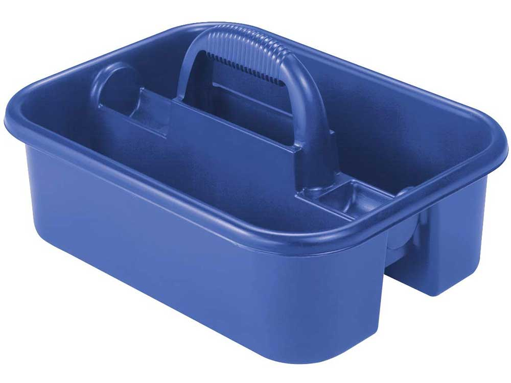 Akro-Mils 09185 Plastic Tote Tool & Supply Cleaning Caddy with Handle, (18-3/8-Inch x 13-7/8-Inch x 9-Inch), Blue (09185BLUE)