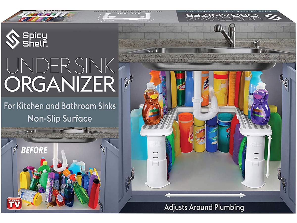 Expandable Under Sink Organizer and Storage | Bathroom Under the Sink Organizer Kitchen Under Sink Shelf | Cleaning Supplies Organizer Under Sink Storage | EXPANDABLE HEIGHT DEPTH & WIDTH