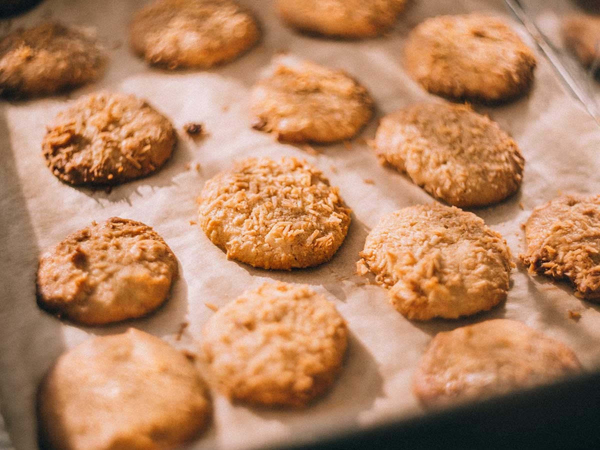 cookies on parchment paper and cookie sheet