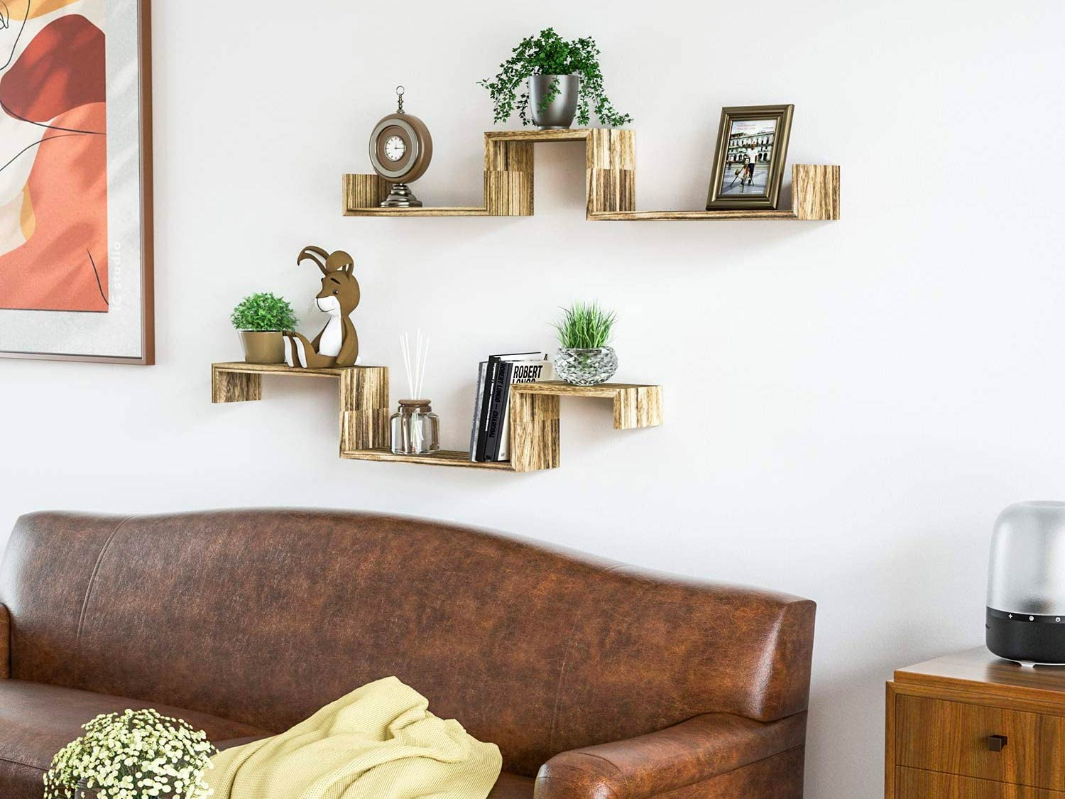 Floating shelves on a living room wall