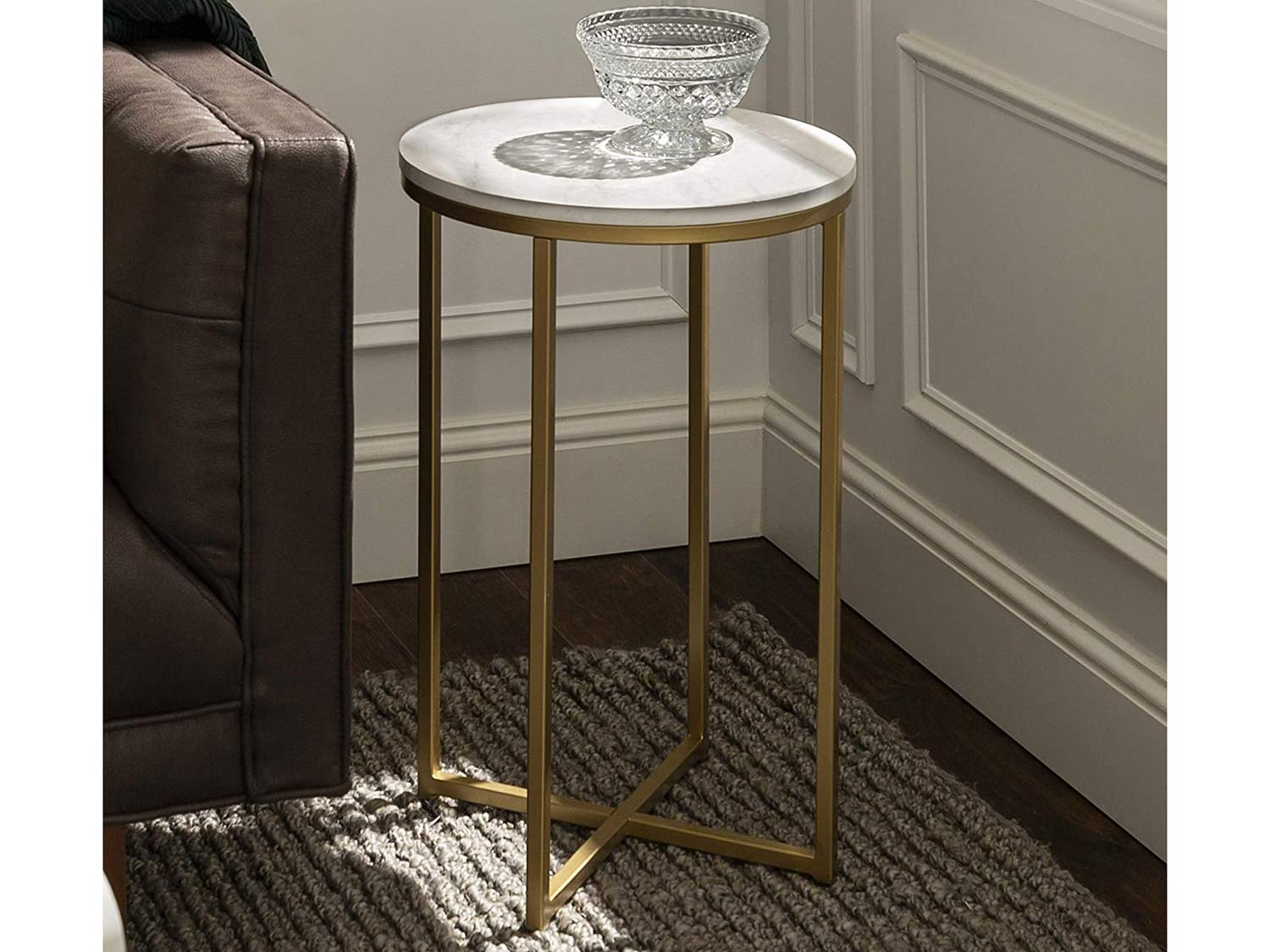 Walker Edison Furniture Company Modern Round Side End Accent Table Living Room, Marble/Gold