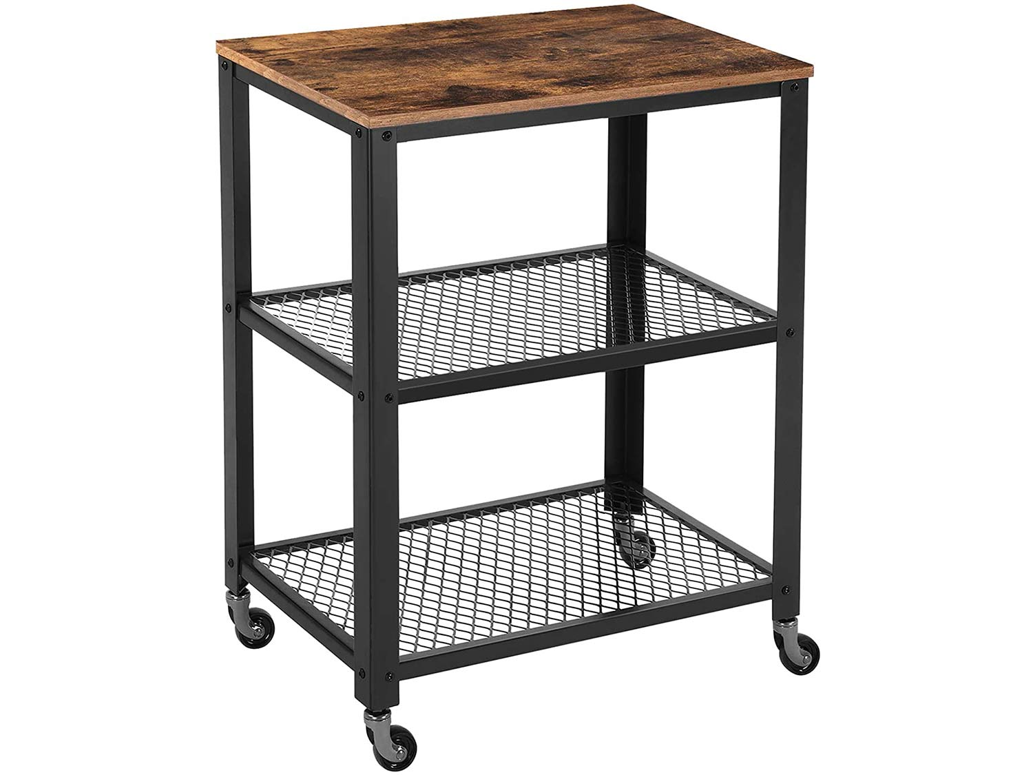 VASAGLE Industrial Serving, 3-Tier Kitchen Utility Cart on Wheels with Storage for Living Room, Wood Look Accent Furniture with Metal Frame , Rustic Brown