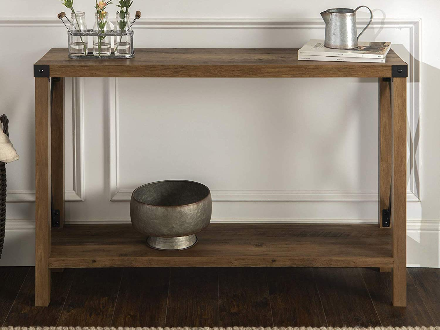 WE Furniture Farmhouse Sqaure Accent Entryway Table, 46 Inch, Brown Reclaimed Barnwood