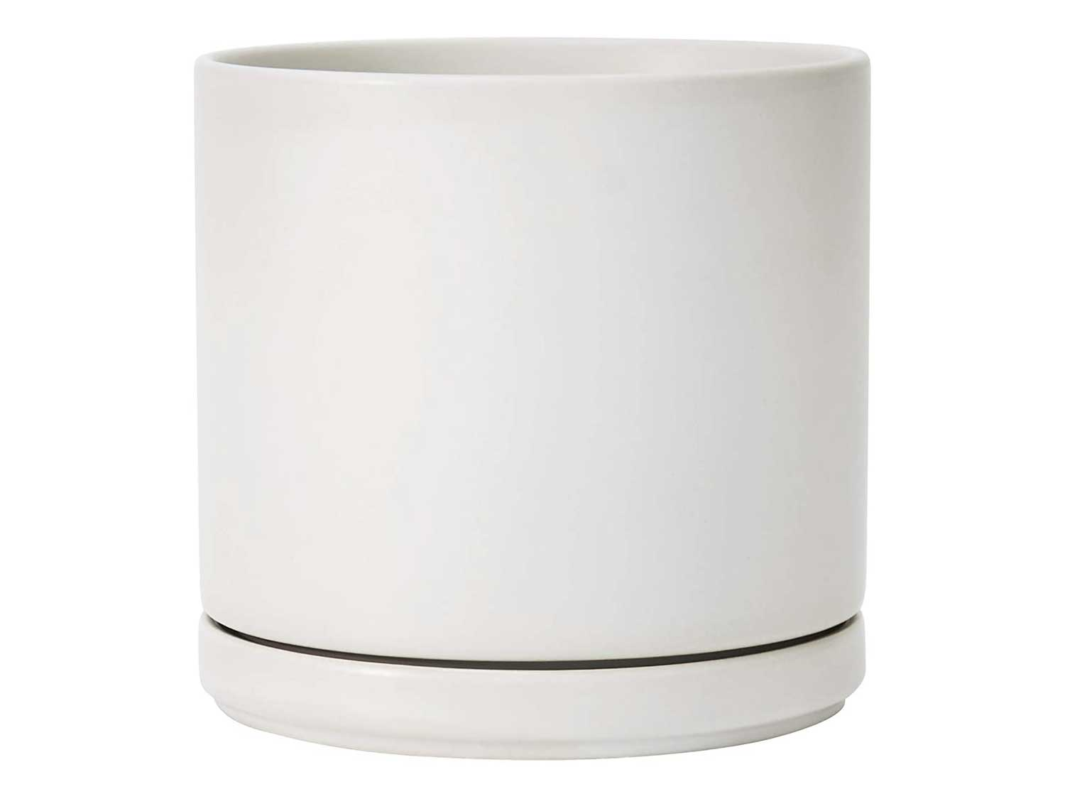 Ceramic Planter Pot with Drainage Hole and Saucer, Indoor Cylinder Round Planter Pot, 6 Inch, White