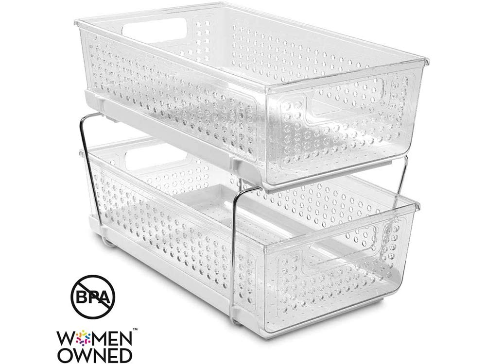 madesmart 2-Tier Organizer Bath Collection Slide-out Baskets with Handles, Space Saving, Multi-purpose Storage & BPA-Free, Large, Clear-Without Dividers