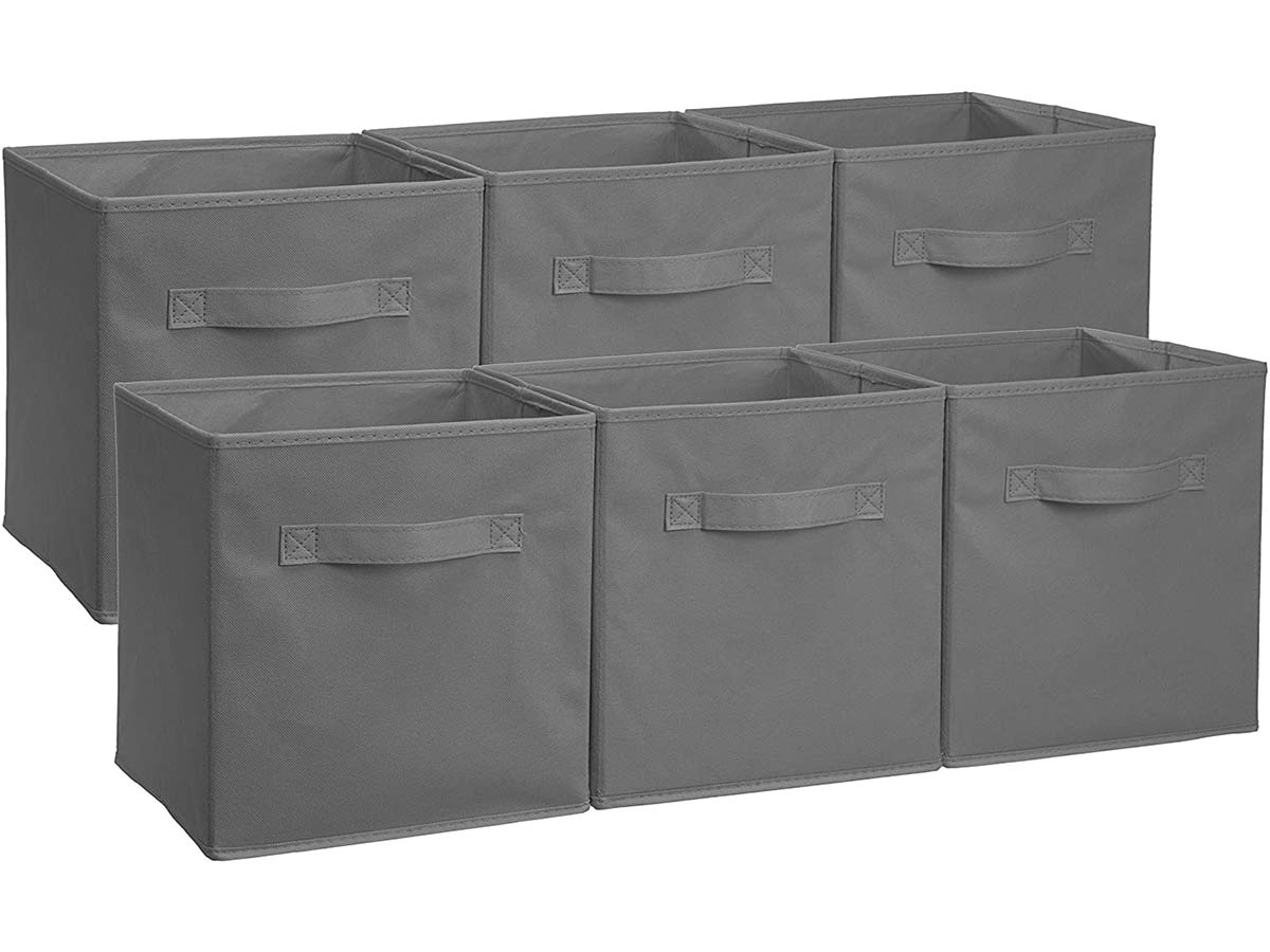 AmazonBasics Collapsible Fabric Storage Cubes Organizer with Handles, Gray - Pack of 6