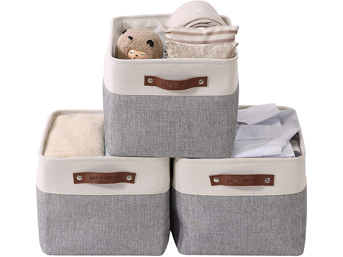 DECOMOMO Large Foldable Storage Bin   Collapsible Sturdy Cationic Fabric Storage Basket Cube W/Handles for Organizing Shelf Nursery Home Closet & Office - Grey and White 15 x 11 x 9.5