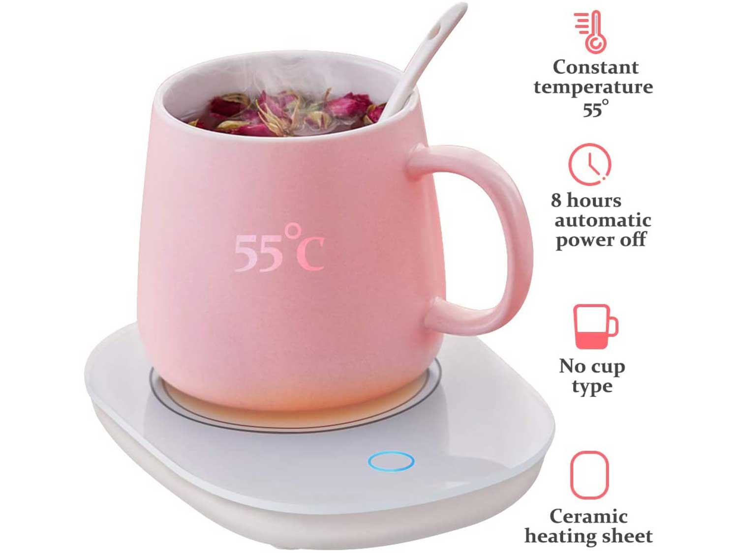 YEVIOR Coffee Cup Warmer for Desk with Touch Screen Switch,Coffee Mug Warmer for Office Home Use,Cup Warmer Plate for Coffee, Milk, Tea, Water