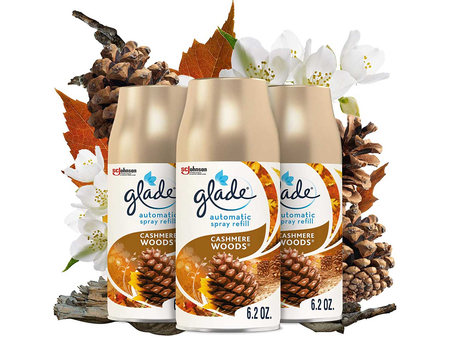 Glade Automatic Spray Refill, Air Freshener for Home and Bathroom, 6.2 Oz, Cashmere Woods, 3 Count