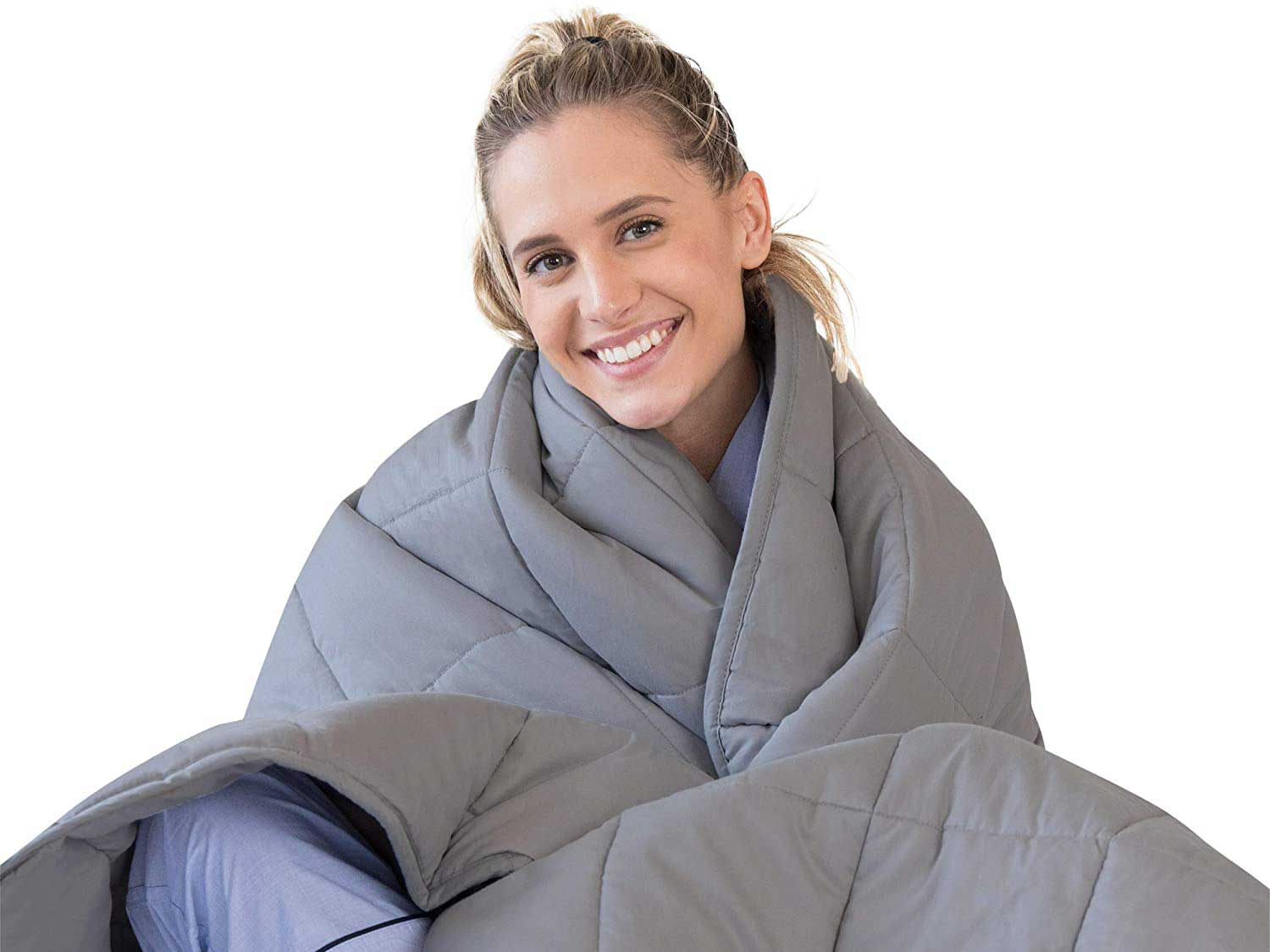 Luna Adult Weighted Blanket | Individual Use - 15 lbs - 60x80 - Queen Size Bed | 100% Oeko-Tex Certified Cooling Cotton & Glass Beads | USA Designed | Heavy Cool Weight | Dark Grey