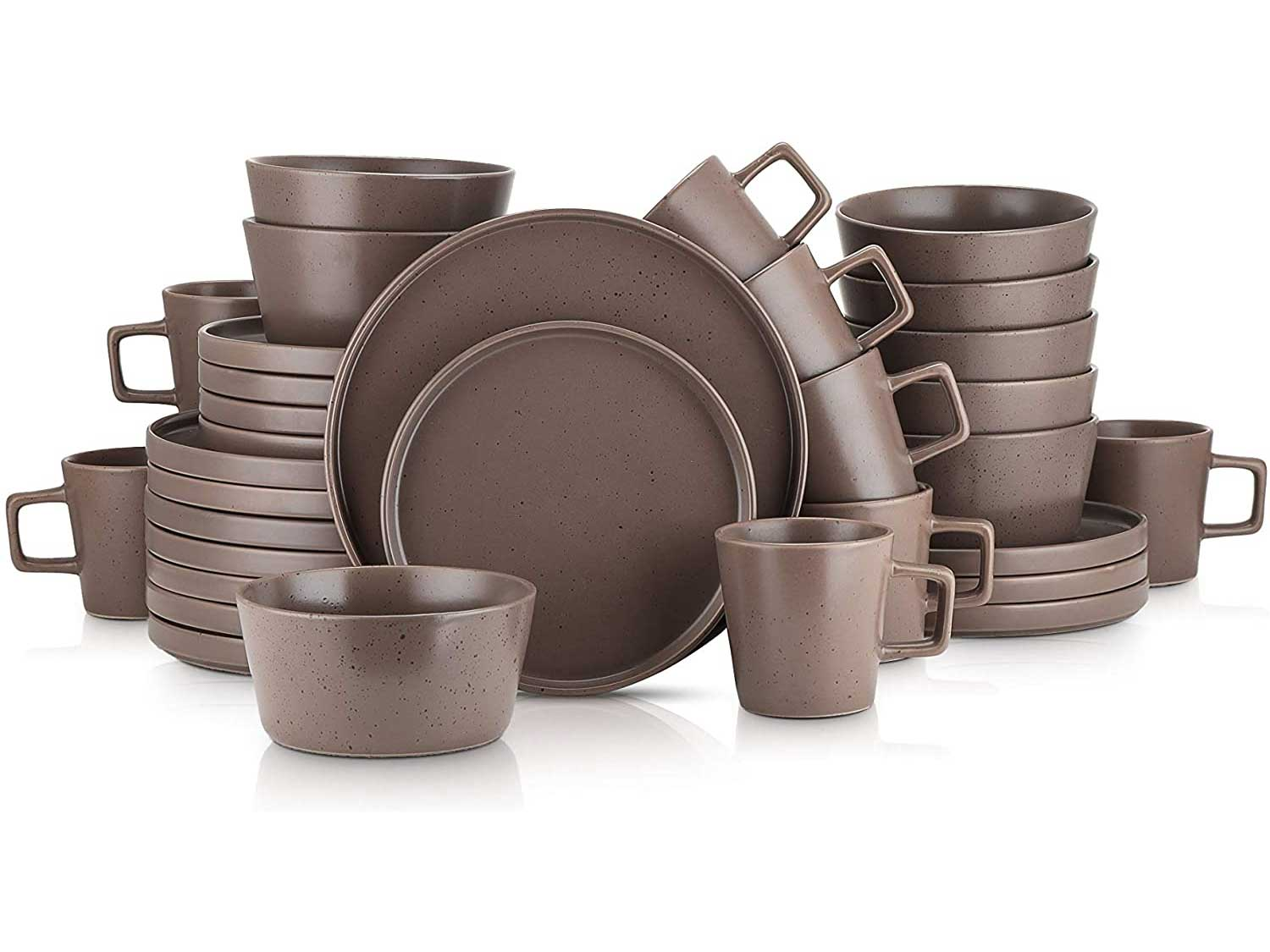 Stone Lain Coupe Dinnerware Set, Service For 8, Matte Brown
