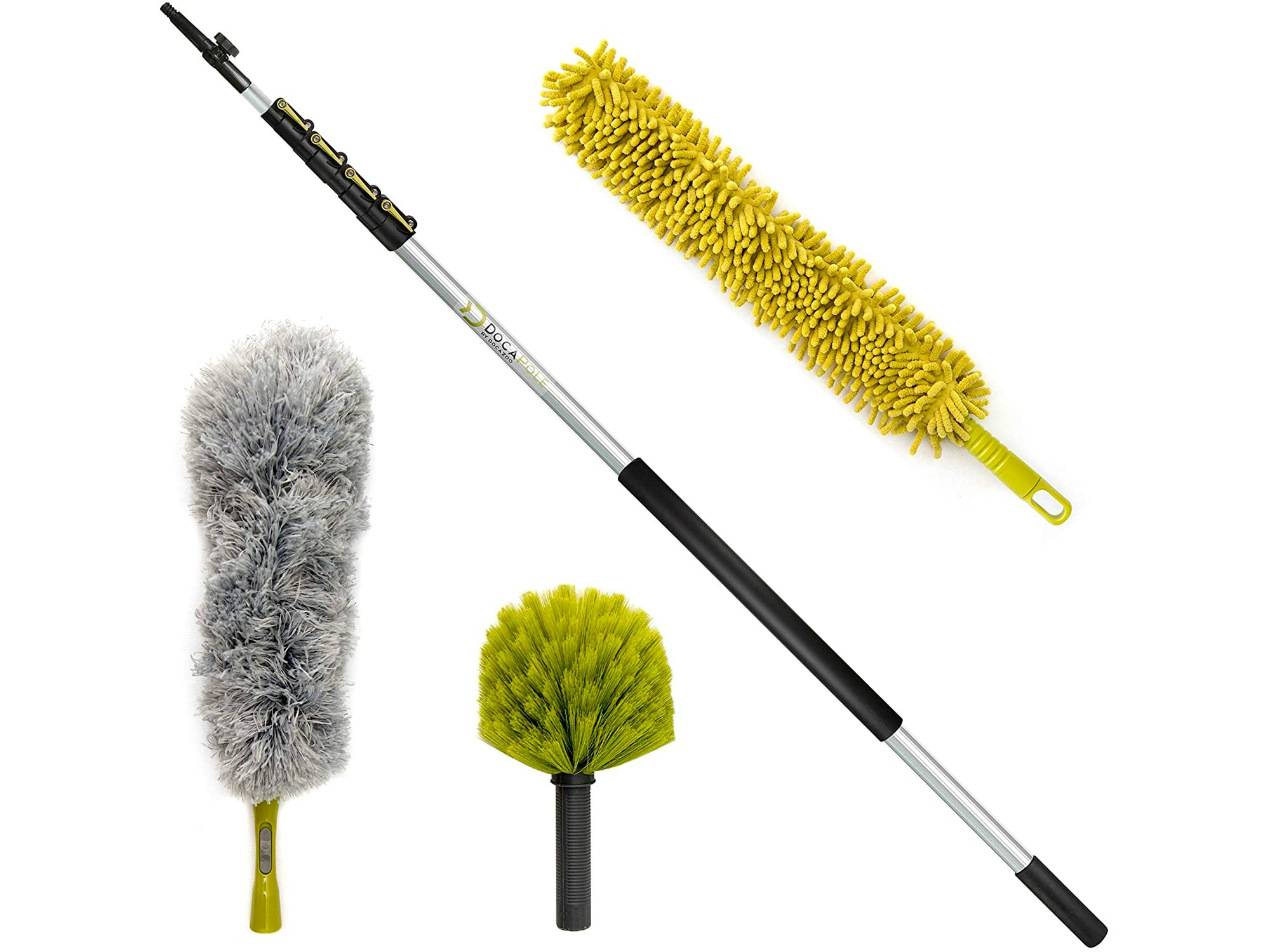 DocaPole 36 Foot High Reach Dusting Kit with 7-30 Foot Extension Pole // Cleaning Kit Includes 3 Dusting Attachments // Cobweb Duster // Microfiber Duster // Ceiling Fan Duster