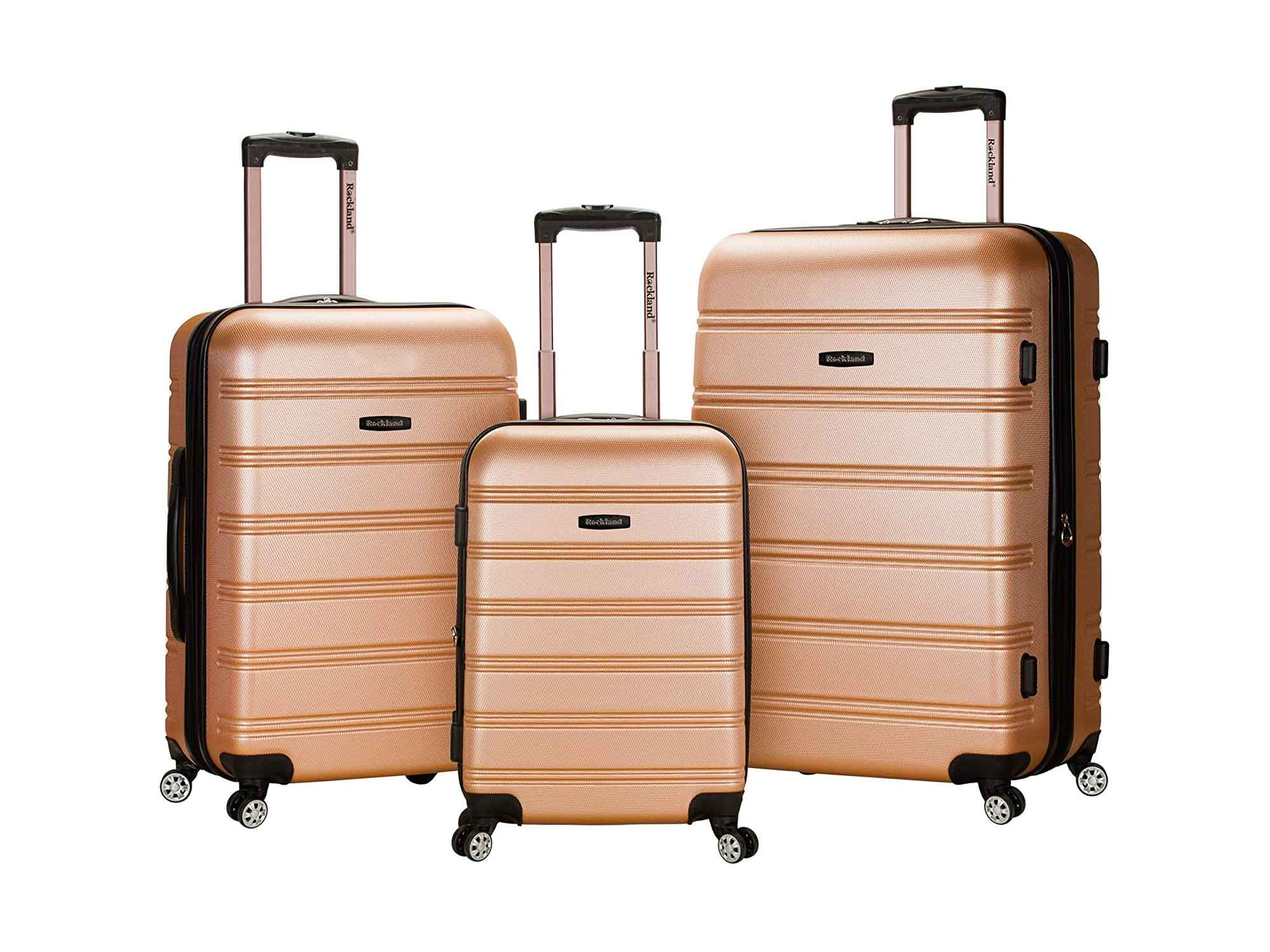 Rockland Melbourne Hardside Expandable Spinner Wheel Luggage, Champagne, 3-Piece Set