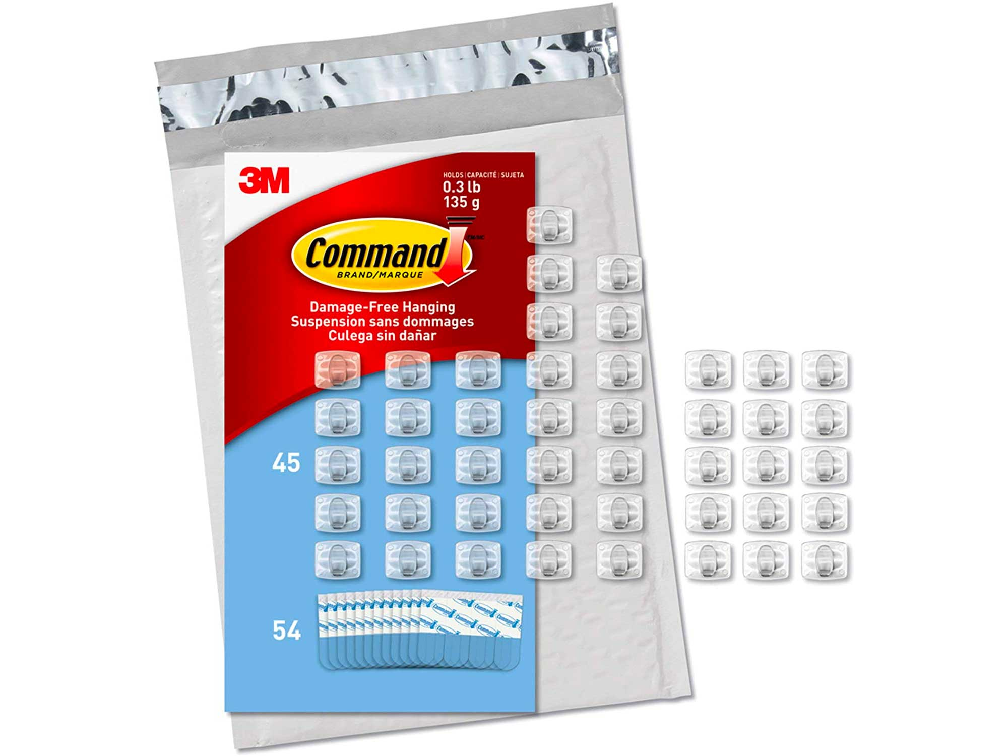 Command Clear Mini Light Clips, 45 clips, 54 strips, Indoor Use