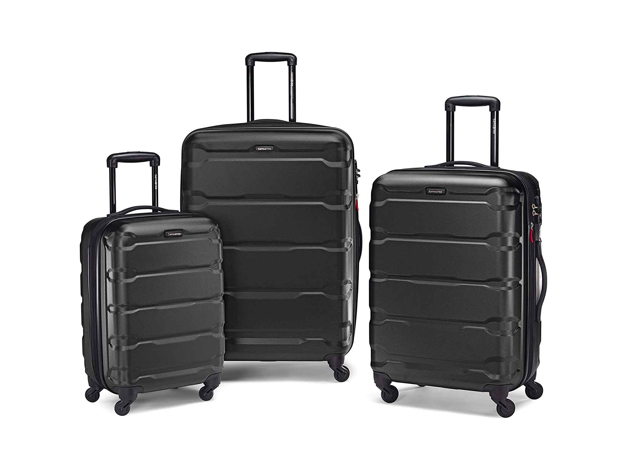 Samsonite Omni PC Hardside Expandable Luggage with Spinner Wheels, Black, 3-Piece Set