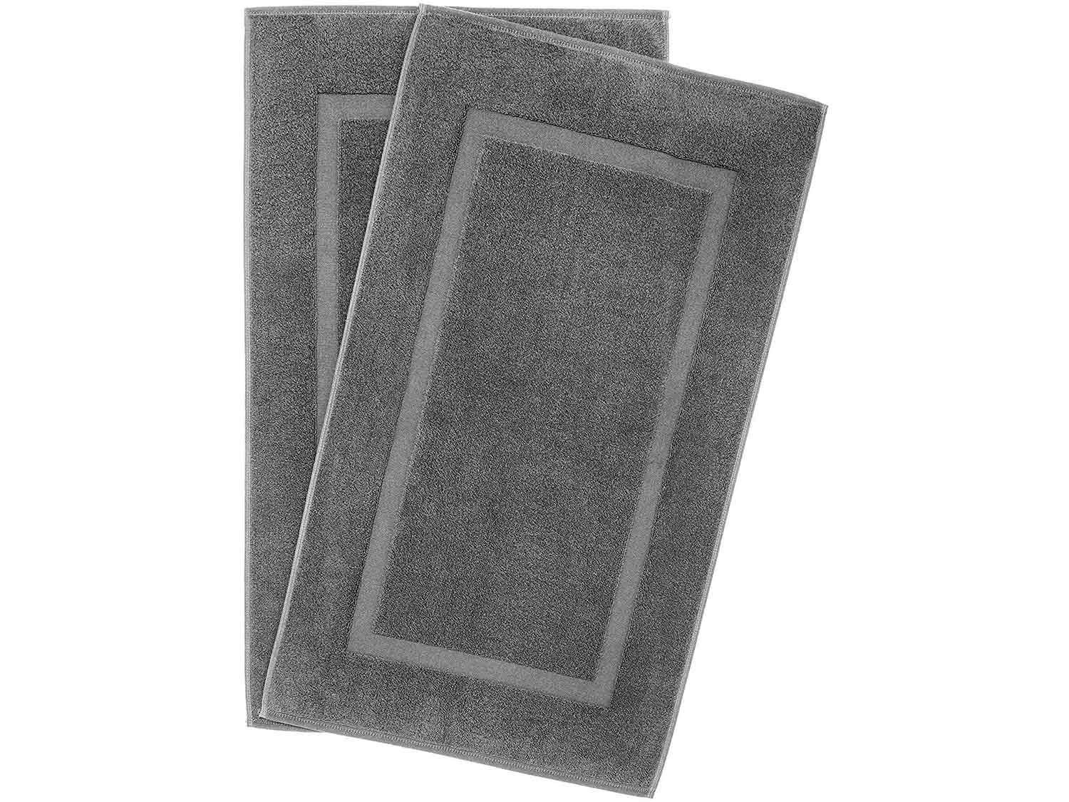 900 GSM Machine Washable 20x34 Inches 2-Pack Banded Bath Mats, Luxury Hotel & Spa Quality, 100% Ring Spun Genuine Cotton, Maximum Softness & Absorbency by United Home Textile, Charcoal Grey