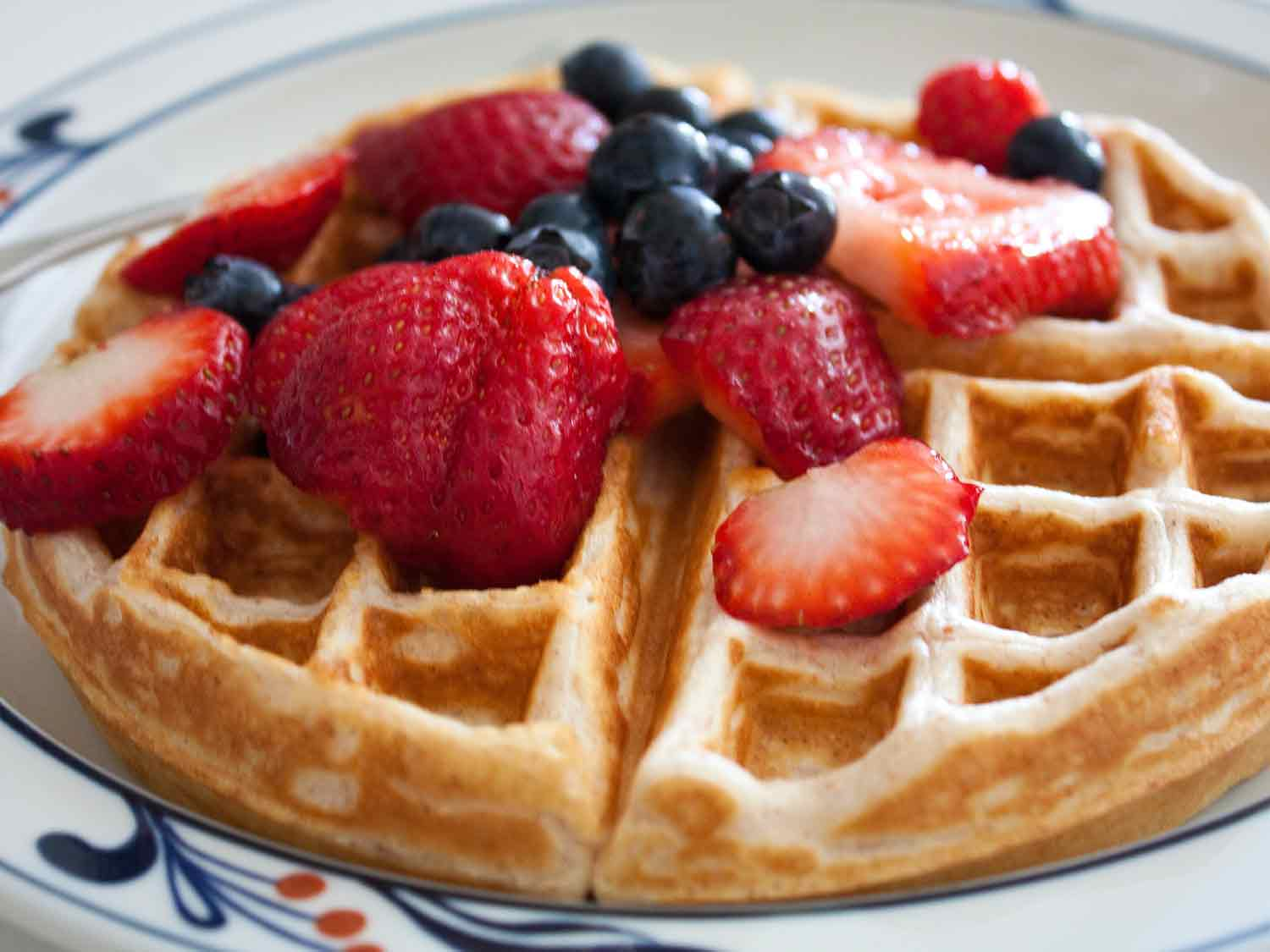 Waffle with blueberries and strawberries